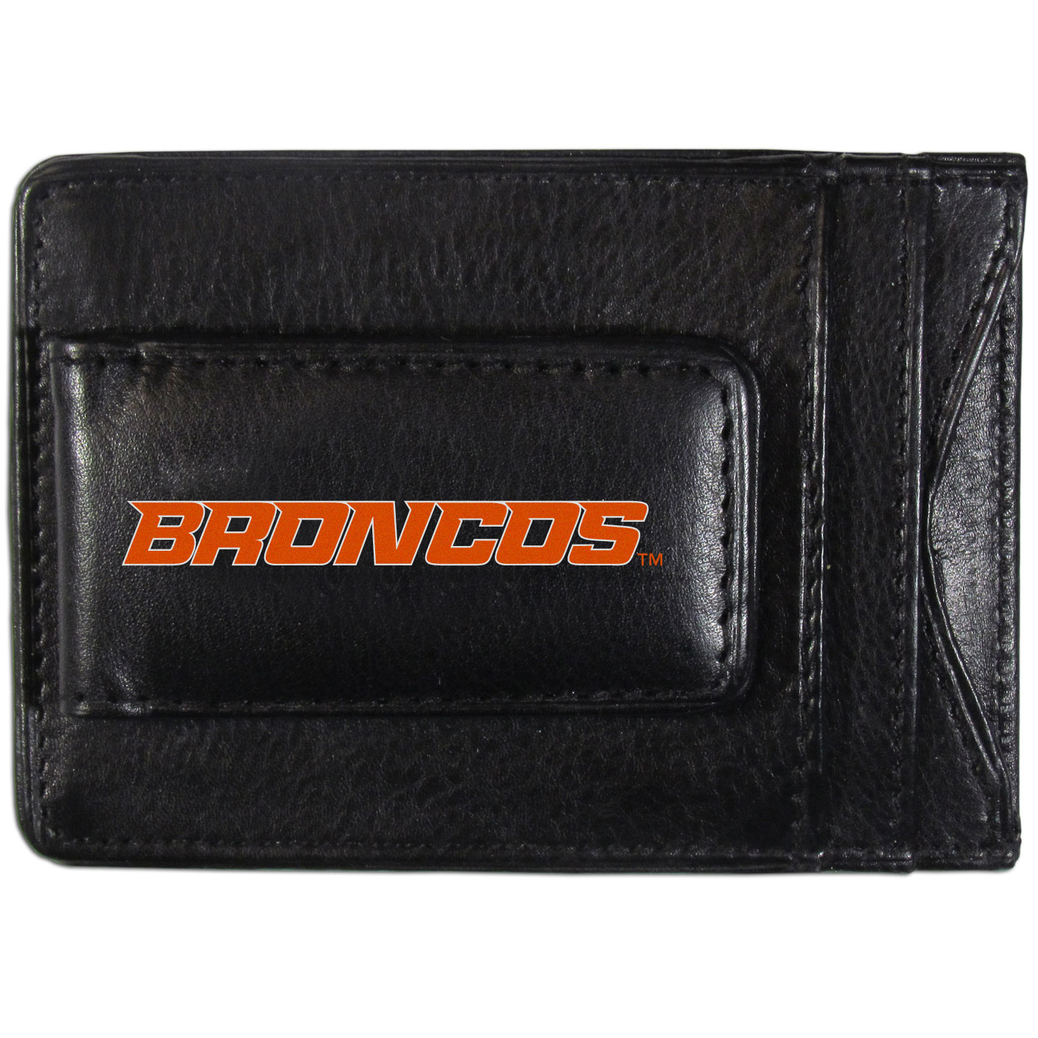 Boise St. Broncos Logo Leather Cash and Cardholder - This super slim leather wallet lets you have all the benefits of a money clip while keeping the organization of a wallet. On one side of this front pocket wallet there is a strong, magnetic money clip to keep your cash easily accessible and the?Boise St. Broncos team logo on the front. The versatile men's accessory is a perfect addition to your fan apparel.