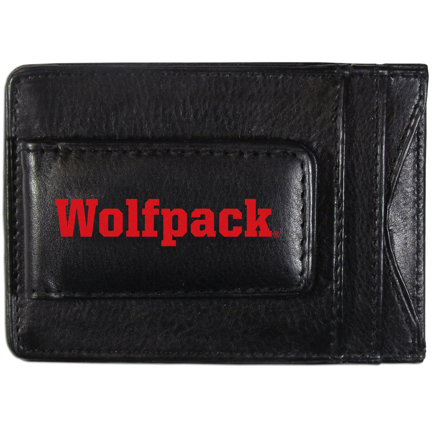 N. Carolina St. Wolfpack Logo Leather Cash and Cardholder - This super slim leather wallet lets you have all the benefits of a money clip while keeping the organization of a wallet. On one side of this front pocket wallet there is a strong, magnetic money clip to keep your cash easily accessible and the?N. Carolina St. Wolfpack team logo on the front. The versatile men's accessory is a perfect addition to your fan apparel.
