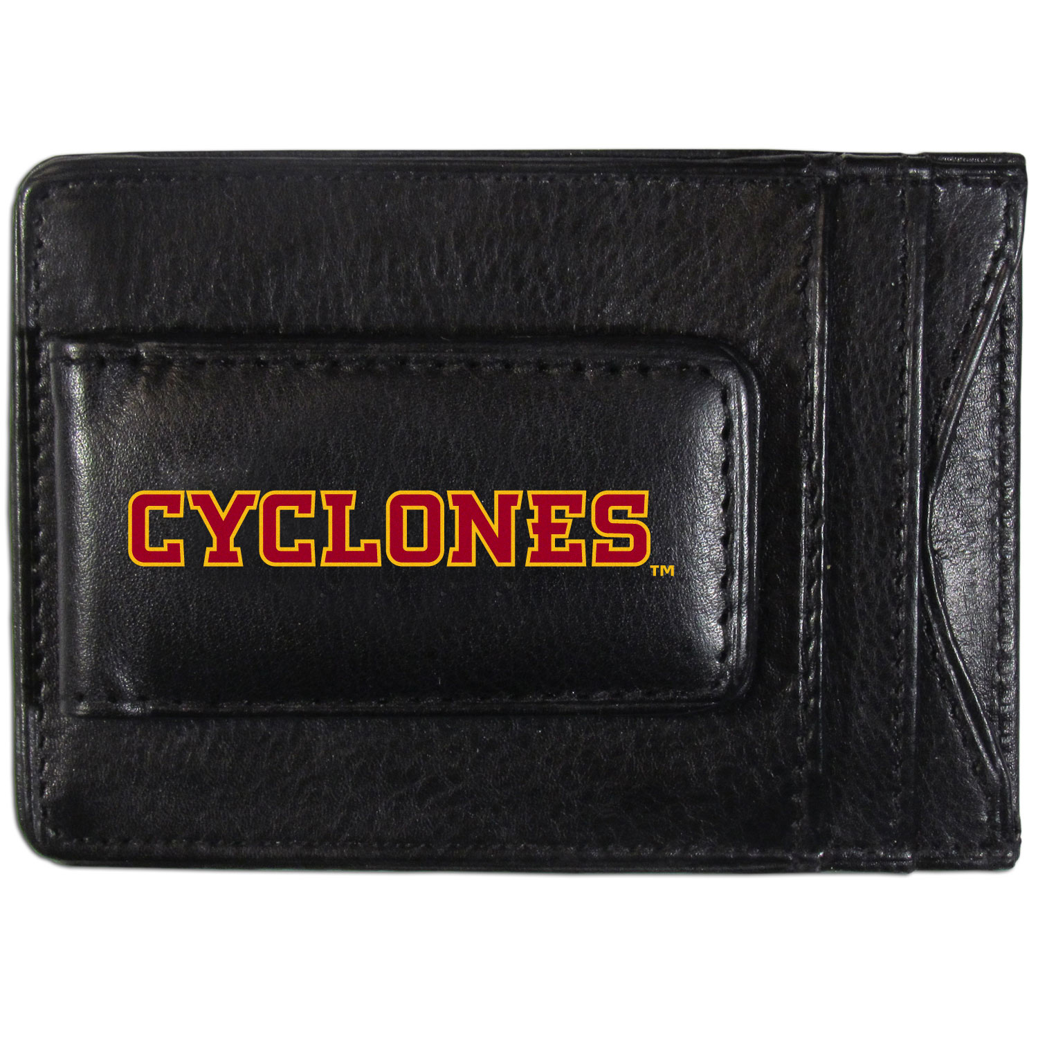 Iowa St. Cyclones Logo Leather Cash and Cardholder - This super slim leather wallet lets you have all the benefits of a money clip while keeping the organization of a wallet. On one side of this front pocket wallet there is a strong, magnetic money clip to keep your cash easily accessible and the?Iowa St. Cyclones team logo on the front. The versatile men's accessory is a perfect addition to your fan apparel.