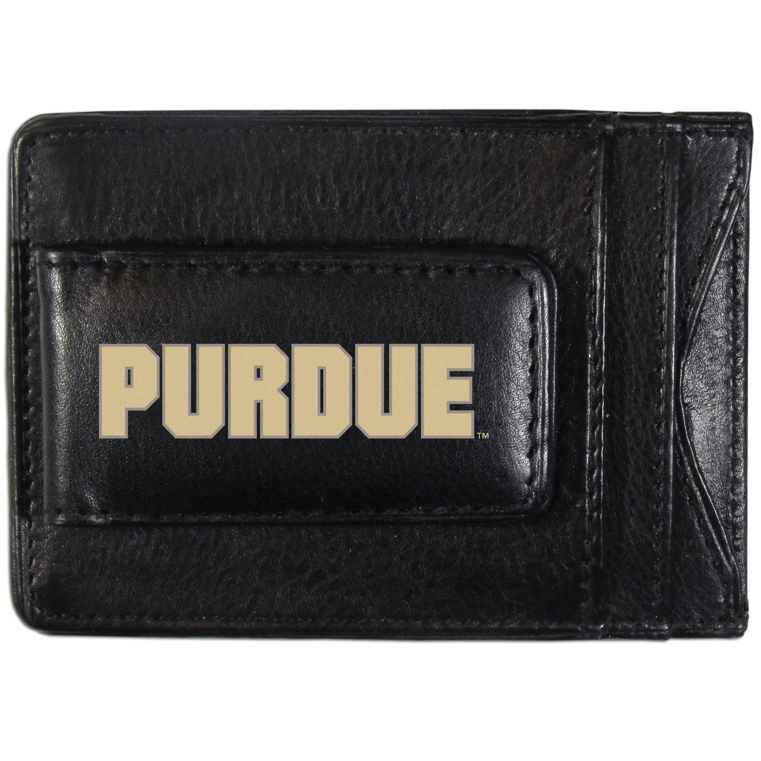 Purdue Boilermakers Logo Leather Cash and Cardholder - This super slim leather wallet lets you have all the benefits of a money clip while keeping the organization of a wallet. On one side of this front pocket wallet there is a strong, magnetic money clip to keep your cash easily accessible and the?Purdue Boilermakers team logo on the front. The versatile men's accessory is a perfect addition to your fan apparel.