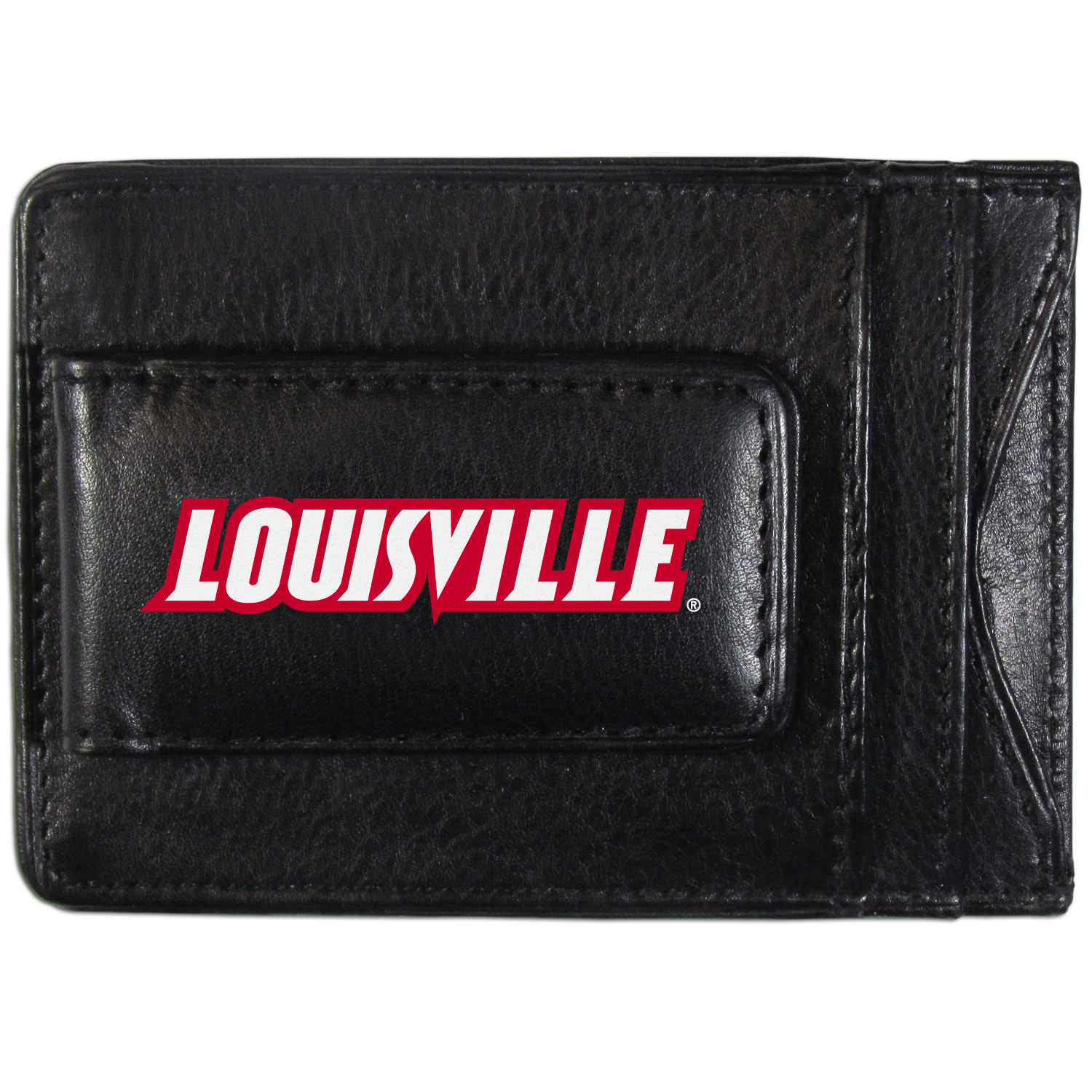 Louisville Cardinals Logo Leather Cash and Cardholder - This super slim leather wallet lets you have all the benefits of a money clip while keeping the organization of a wallet. On one side of this front pocket wallet there is a strong, magnetic money clip to keep your cash easily accessible and the?Louisville Cardinals team logo on the front. The versatile men's accessory is a perfect addition to your fan apparel.