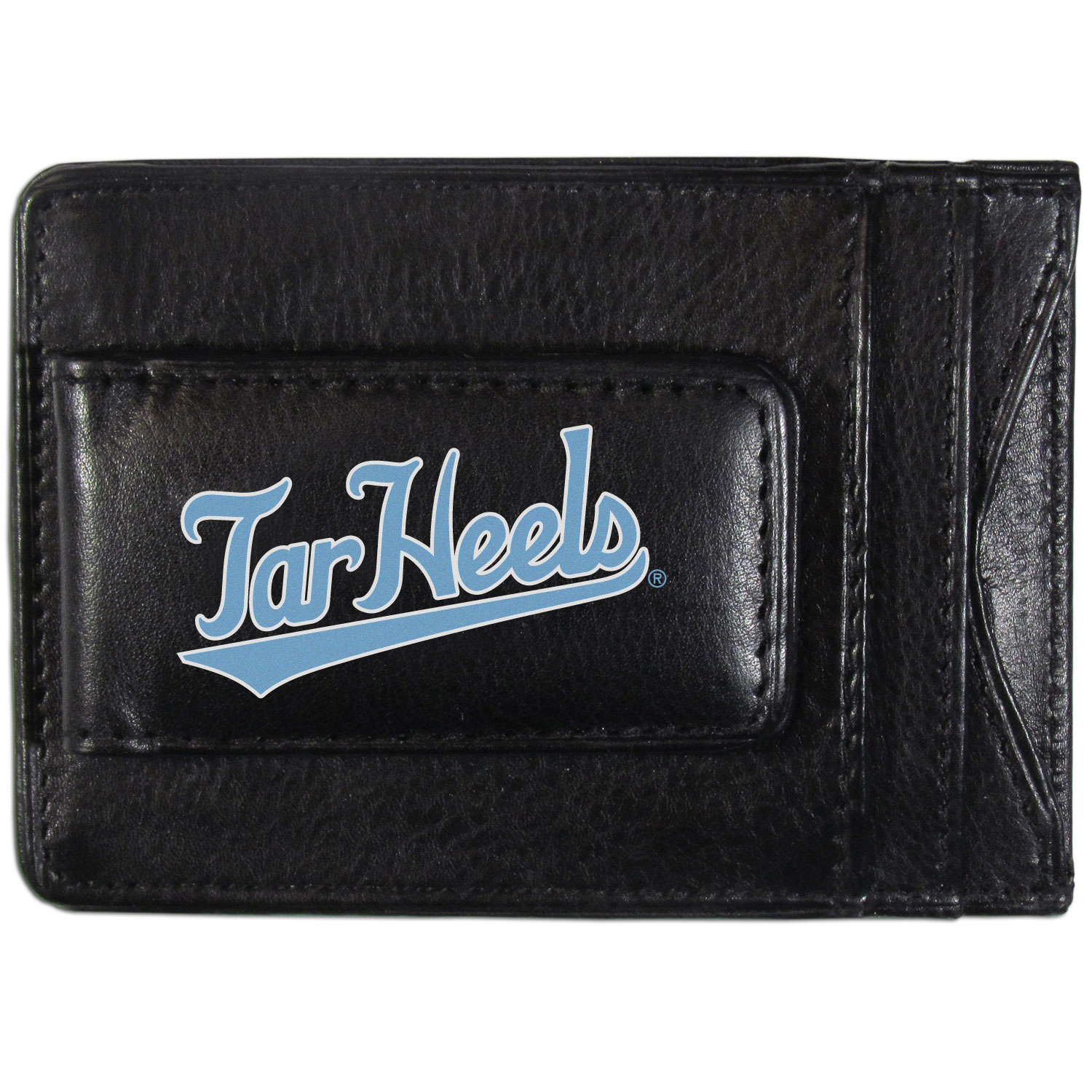 N. Carolina Tar Heels Logo Leather Cash and Cardholder - This super slim leather wallet lets you have all the benefits of a money clip while keeping the organization of a wallet. On one side of this front pocket wallet there is a strong, magnetic money clip to keep your cash easily accessible and the?N. Carolina Tar Heels team logo on the front. The versatile men's accessory is a perfect addition to your fan apparel.