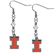 Illinois Fighting Illini Crystal Dangle Earrings - These Illinois Fighting Illinicrystal dangle earrings are the perfect accessory for your game day outfit! The earrings are approximately 1.5 inches long and feature an iridescent crystal bead and nickel free chrome Illinois Fighting Illini charm on nickel free, hypoallergenic fishhook posts. Thank you for shopping with CrazedOutSports.com