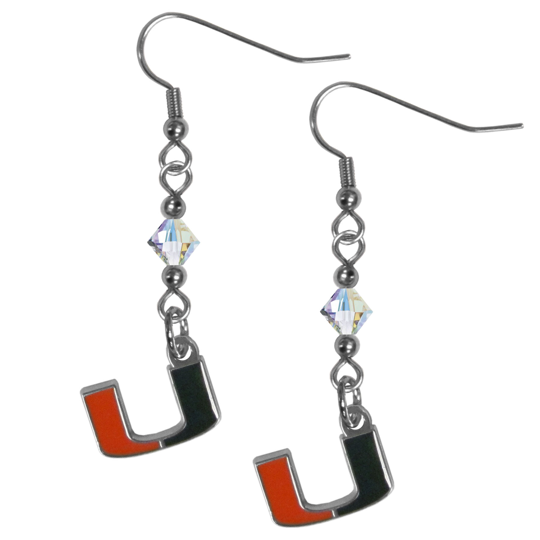 Miami Hurricanes Crystal Dangle Earrings - Our crystal dangle earrings are the perfect accessory for your game day outfit! The earrings are approximately 1.5 inches long and feature an iridescent crystal bead and nickel free chrome Miami Hurricanes charm on nickel free, hypoallergenic fishhook posts.