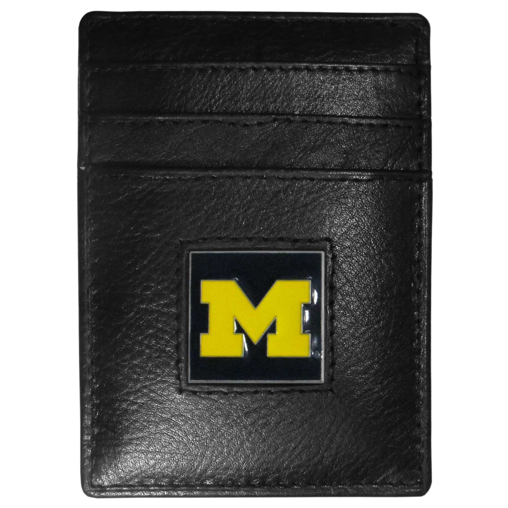 Michigan Wolverines Leather Money Clip/Cardholder - Our officially licensed Money Clip/Card Holders won't make you choose between paper or plastic because they stow both easily. Features our sculpted and enameled Michigan Wolverines emblem on the front of the wallet.