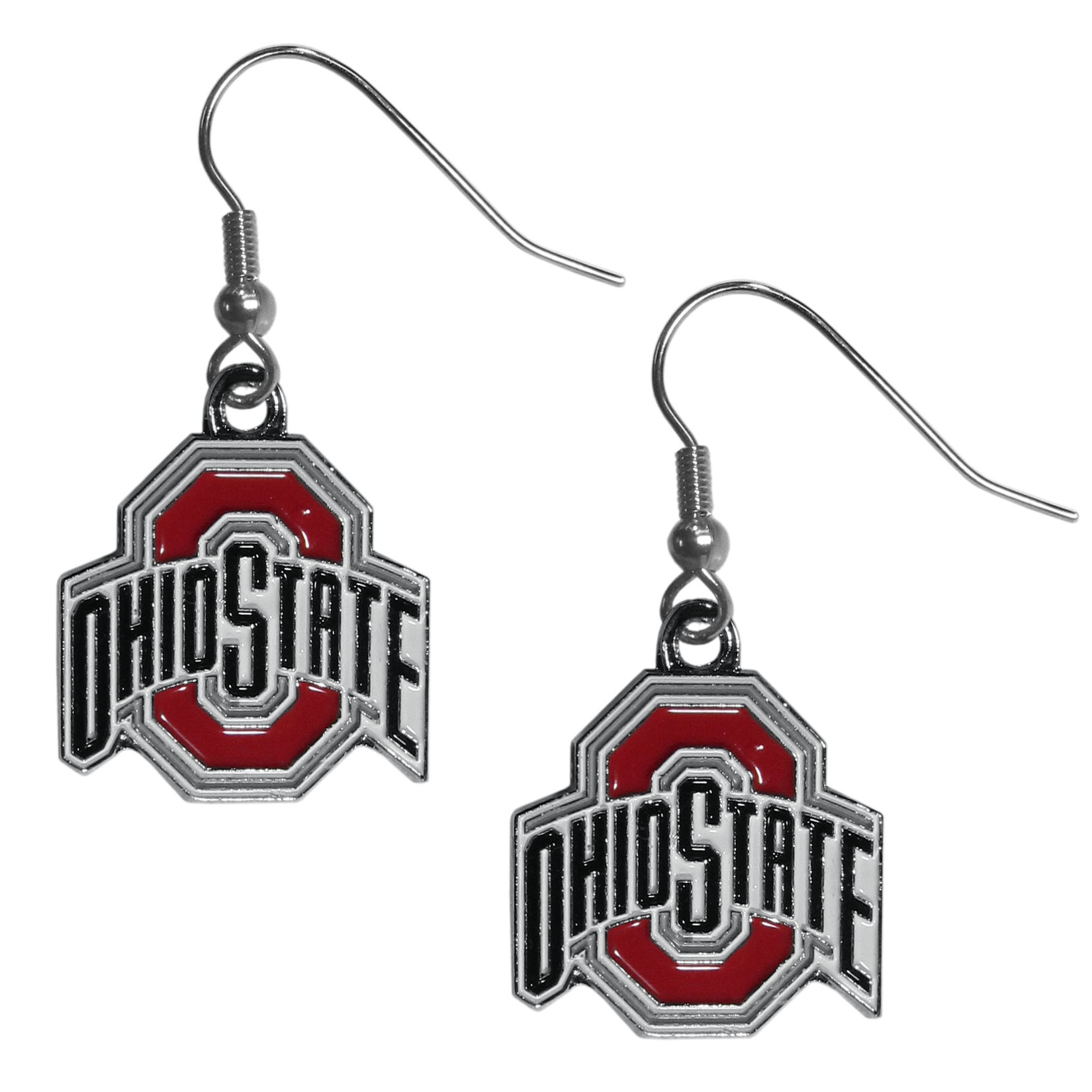 Ohio St. Buckeyes Chrome Dangle Earrings - Our officially licensed chrome dangle earrings have fully cast Ohio St. Buckeyes charms with exceptional detail and a hand enameled finish. The earrings have a high polish nickel free chrome finish and hypoallergenic fishhook posts.