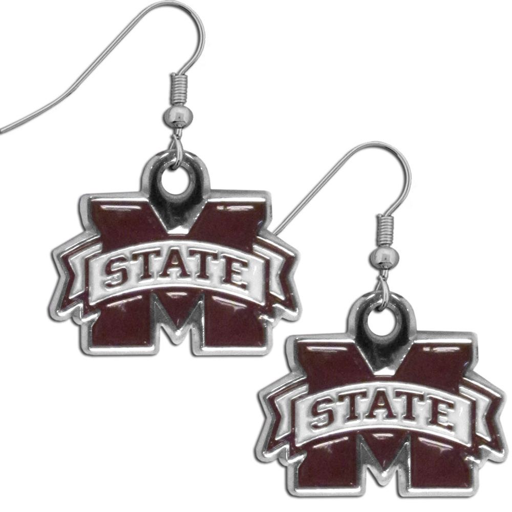 Mississippi St. Bulldogs Chrome Dangle Earrings - Our officially licensed chrome dangle earrings have fully cast Mississippi St. Bulldogs charms with exceptional detail and a hand enameled finish. The earrings have a high polish nickel free chrome finish and hypoallergenic fishhook posts.
