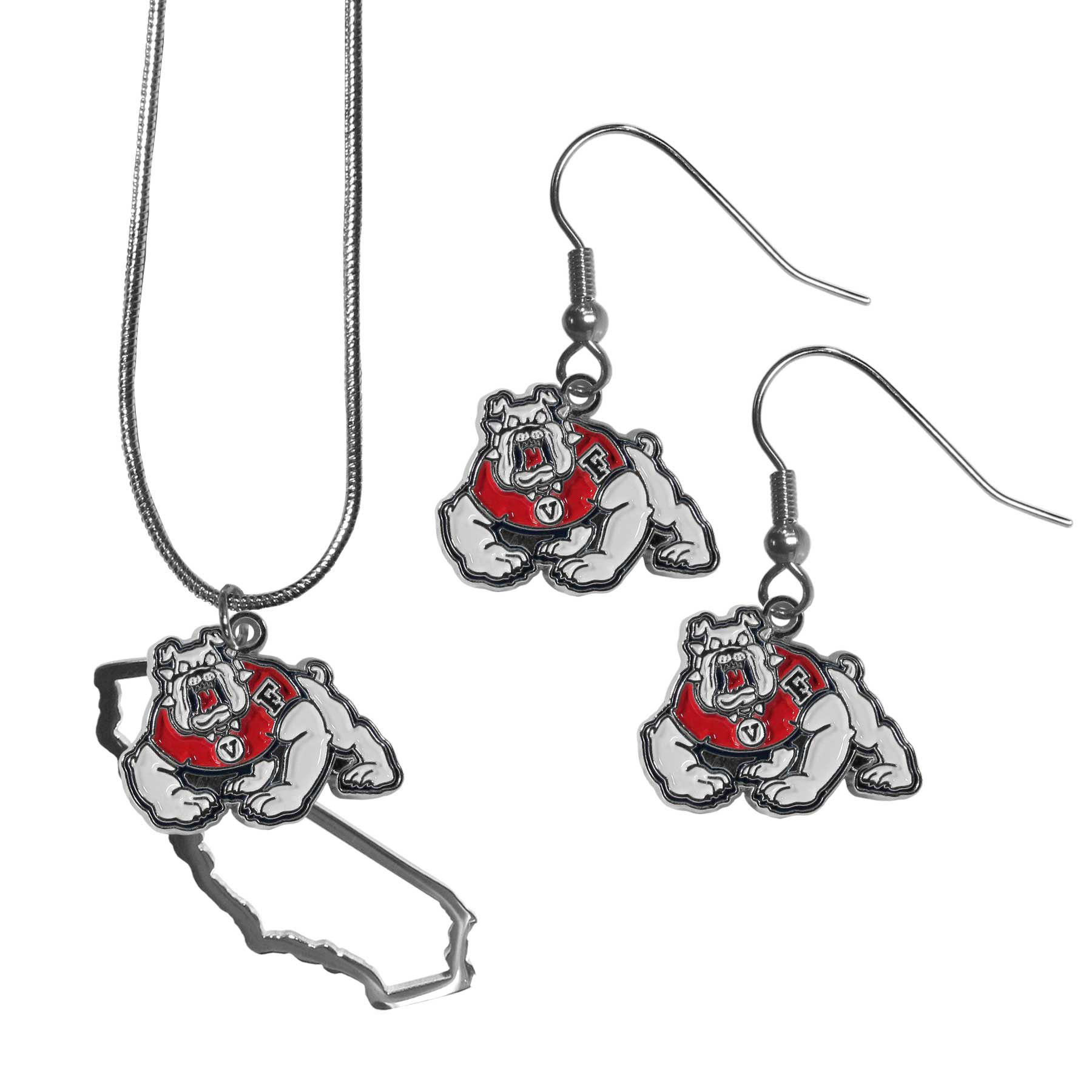 Fresno St. Bulldogs Dangle Earrings and State Necklace Set - Get in on the trend! State themes are a trend that just keeps getting more popular and this jewelry set takes the state style and give it a sporty twist with a Fresno St. Bulldogs necklace that features an Arizona state outline charm paired with a beautiful team charm and matching team charm dangle earrings. The earrings feature hypoallergenic fishhook posts that are nickel free.