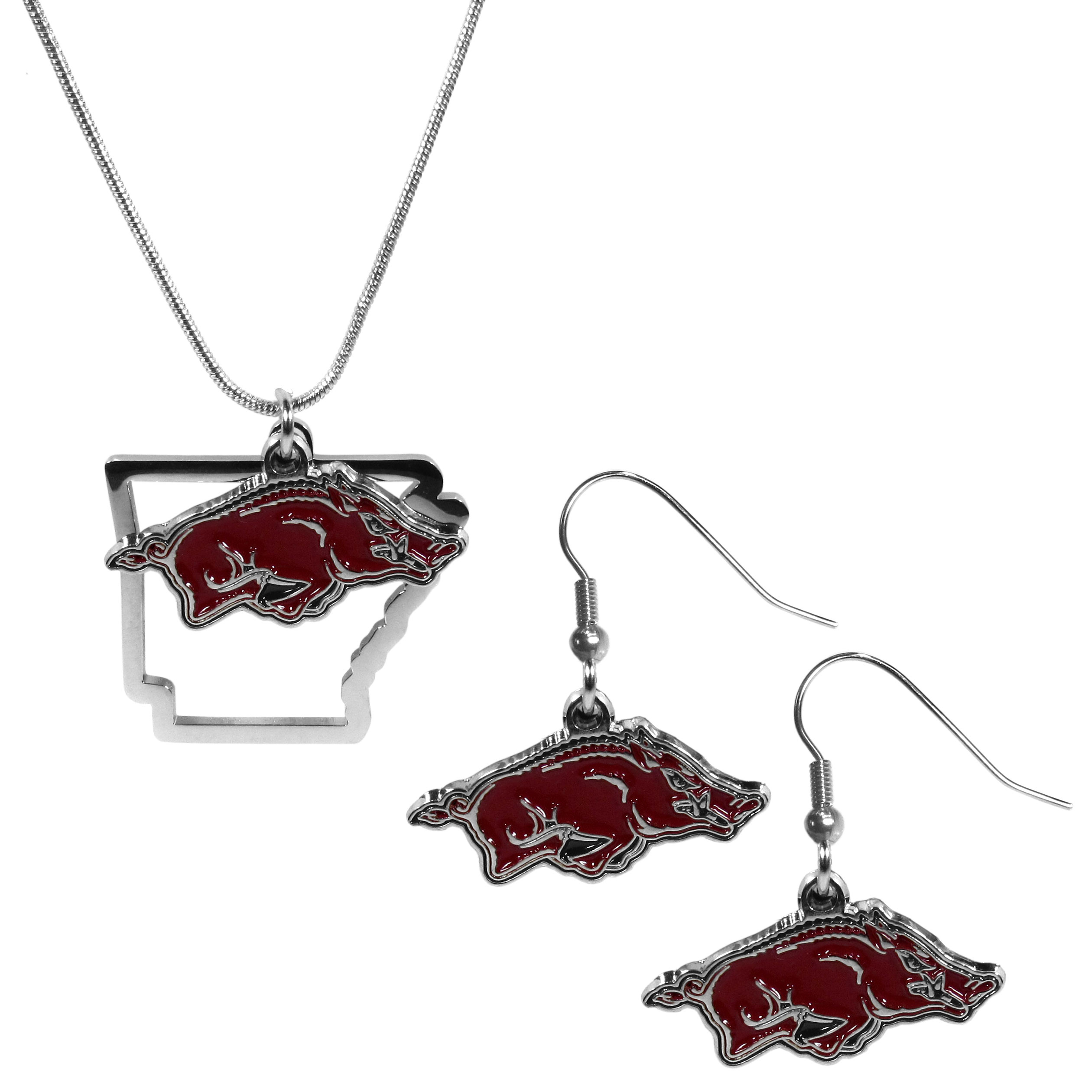 Arkansas Razorbacks Dangle Earrings and State Necklace Set - Get in on the trend! State themes are a trend that just keeps getting more popular and this jewelry set takes the state style and give it a sporty twist with a Arkansas Razorbacks necklace that features an Arizona state outline charm paired with a beautiful team charm and matching team charm dangle earrings. The earrings feature hypoallergenic fishhook posts that are nickel free.