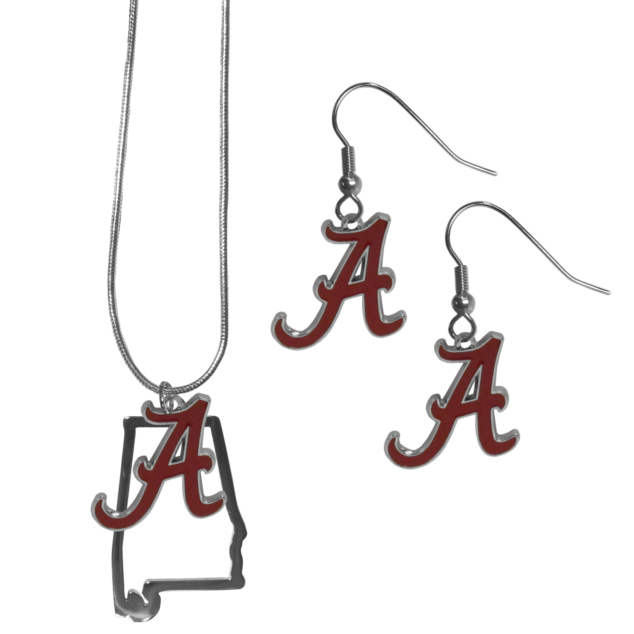 Alabama Crimson Tide Dangle Earrings and State Necklace Set - Get in on the trend! State themes are a trend that just keeps getting more popular and this jewelry set takes the state style and give it a sporty twist with a Alabama Crimson Tide necklace that features an Arizona state outline charm paired with a beautiful team charm and matching team charm dangle earrings. The earrings feature hypoallergenic fishhook posts that are nickel free.
