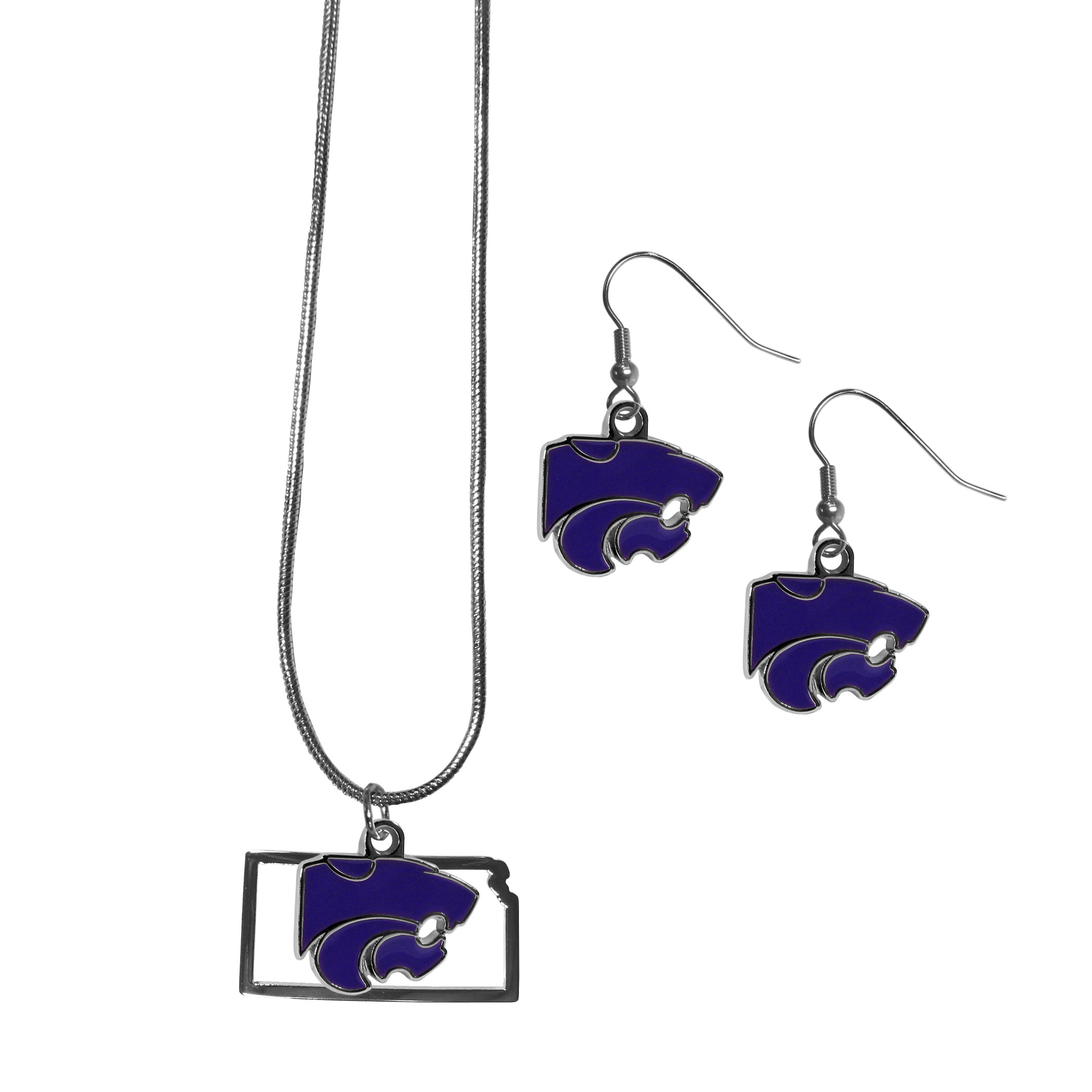 Kansas St. Wildcats Dangle Earrings and State Necklace Set - Get in on the trend! State themes are a trend that just keeps getting more popular and this jewelry set takes the state style and give it a sporty twist with a Kansas St. Wildcats necklace that features an Arizona state outline charm paired with a beautiful team charm and matching team charm dangle earrings. The earrings feature hypoallergenic fishhook posts that are nickel free.