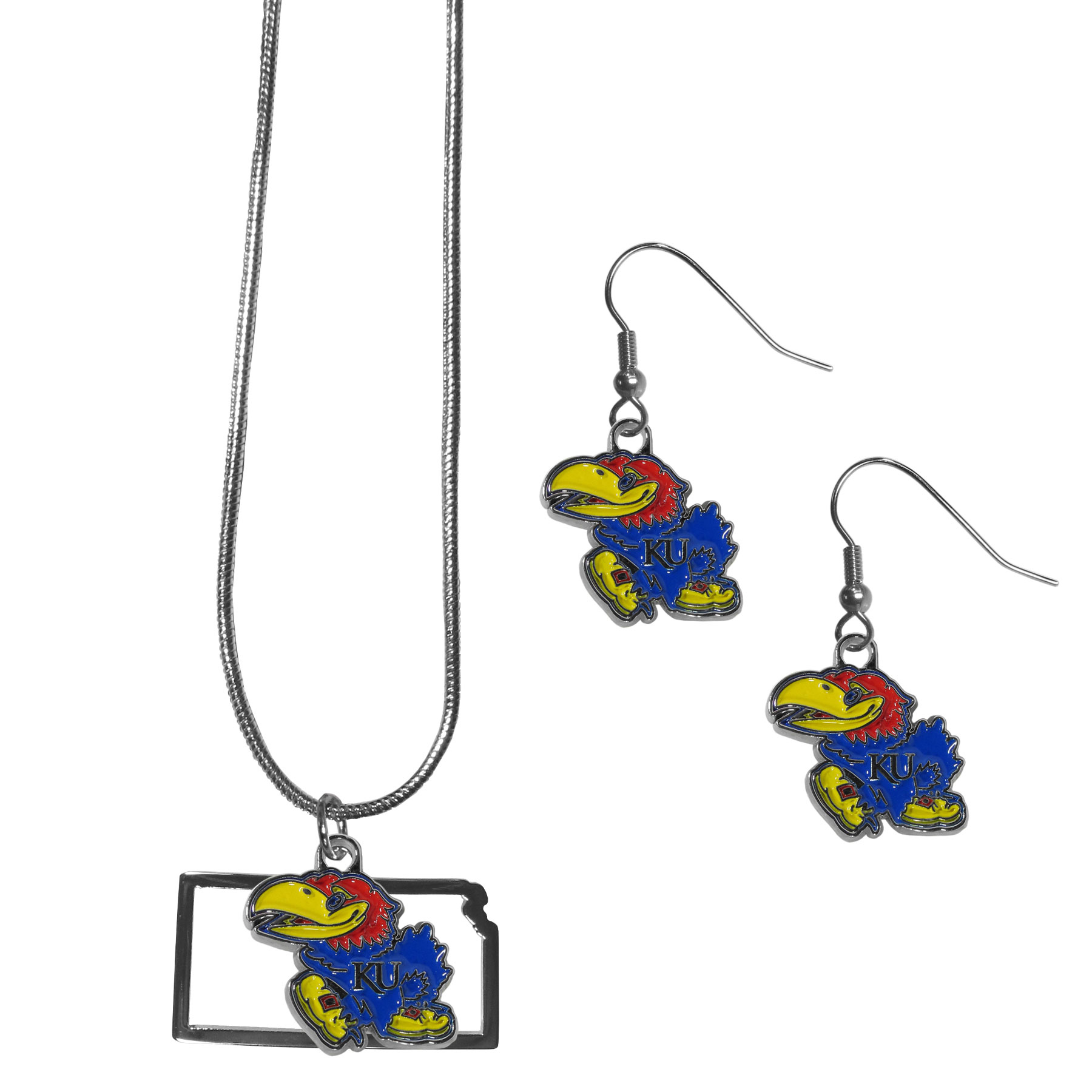 Kansas Jayhawks Dangle Earrings and State Necklace Set - Get in on the trend! State themes are a trend that just keeps getting more popular and this jewelry set takes the state style and give it a sporty twist with a Kansas Jayhawks necklace that features an Arizona state outline charm paired with a beautiful team charm and matching team charm dangle earrings. The earrings feature hypoallergenic fishhook posts that are nickel free.