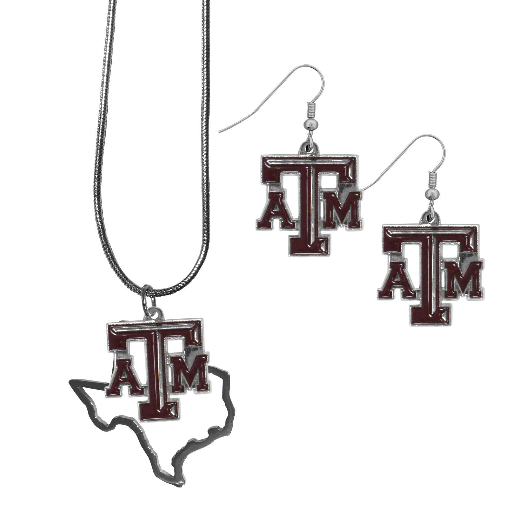 Texas A and M Aggies Dangle Earrings and State Necklace Set - Get in on the trend! State themes are a trend that just keeps getting more popular and this jewelry set takes the state style and give it a sporty twist with a Texas A & M Aggies necklace that features an Arizona state outline charm paired with a beautiful team charm and matching team charm dangle earrings. The earrings feature hypoallergenic fishhook posts that are nickel free.