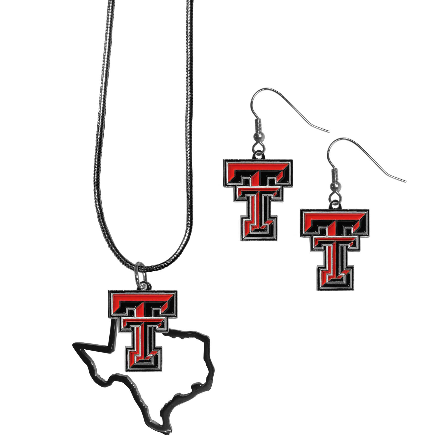 Texas Tech Raiders Dangle Earrings and State Necklace Set - Get in on the trend! State themes are a trend that just keeps getting more popular and this jewelry set takes the state style and give it a sporty twist with a Texas Tech Raiders necklace that features an Arizona state outline charm paired with a beautiful team charm and matching team charm dangle earrings. The earrings feature hypoallergenic fishhook posts that are nickel free.