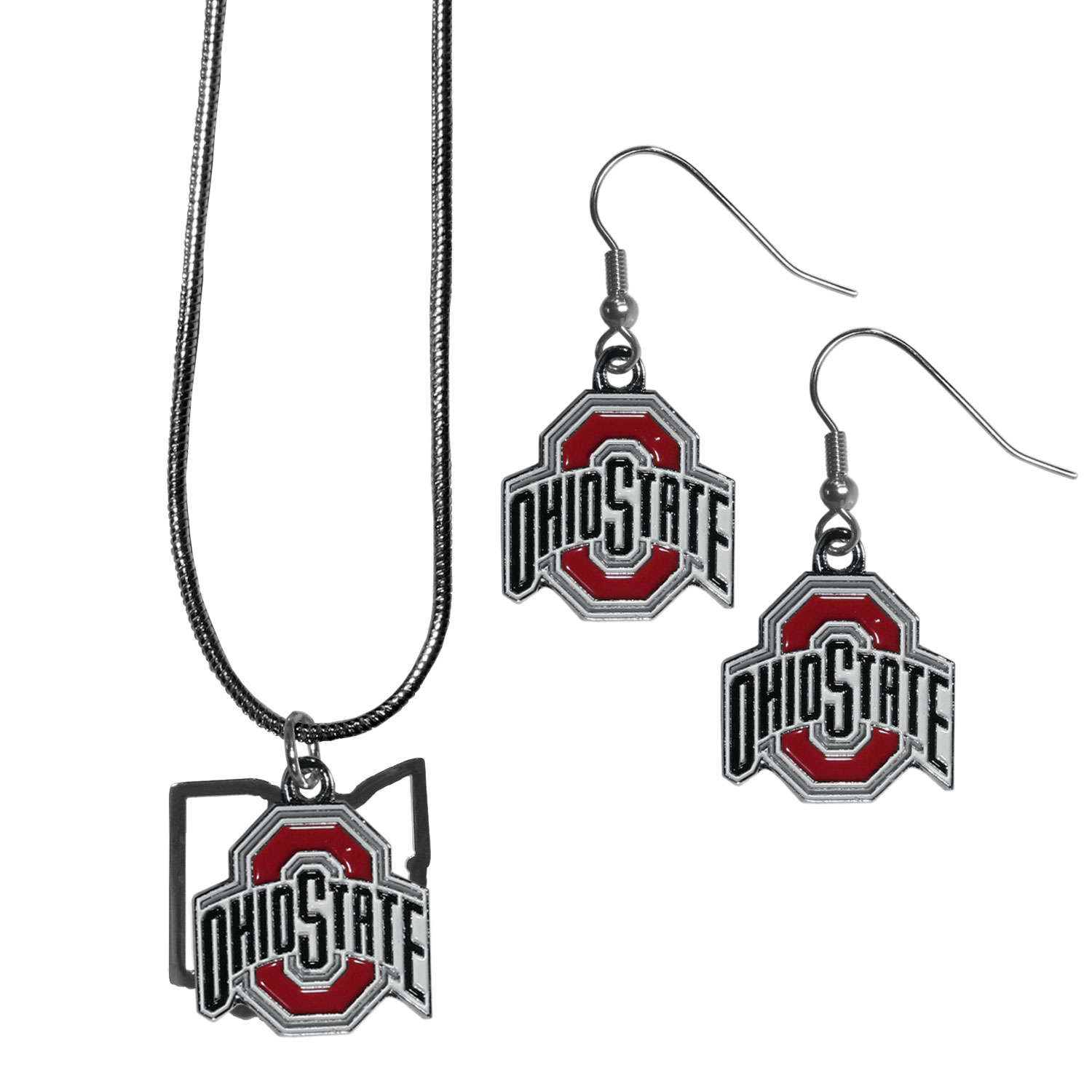 Ohio St. Buckeyes Dangle Earrings and State Necklace Set - Get in on the trend! State themes are a trend that just keeps getting more popular and this jewelry set takes the state style and give it a sporty twist with a Ohio St. Buckeyes necklace that features an Arizona state outline charm paired with a beautiful team charm and matching team charm dangle earrings. The earrings feature hypoallergenic fishhook posts that are nickel free.