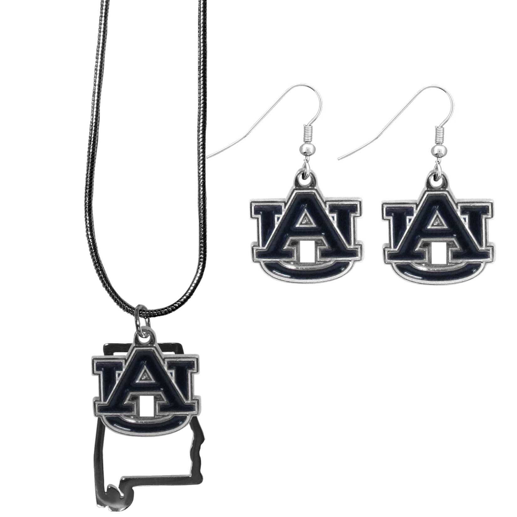 Auburn Tigers Dangle Earrings and State Necklace Set - Get in on the trend! State themes are a trend that just keeps getting more popular and this jewelry set takes the state style and give it a sporty twist with a Auburn Tigers necklace that features an Arizona state outline charm paired with a beautiful team charm and matching team charm dangle earrings. The earrings feature hypoallergenic fishhook posts that are nickel free.
