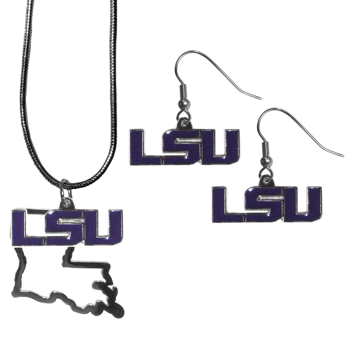 LSU Tigers Dangle Earrings and State Necklace Set - Get in on the trend! State themes are a trend that just keeps getting more popular and this jewelry set takes the state style and give it a sporty twist with a LSU Tigers necklace that features an Arizona state outline charm paired with a beautiful team charm and matching team charm dangle earrings. The earrings feature hypoallergenic fishhook posts that are nickel free.