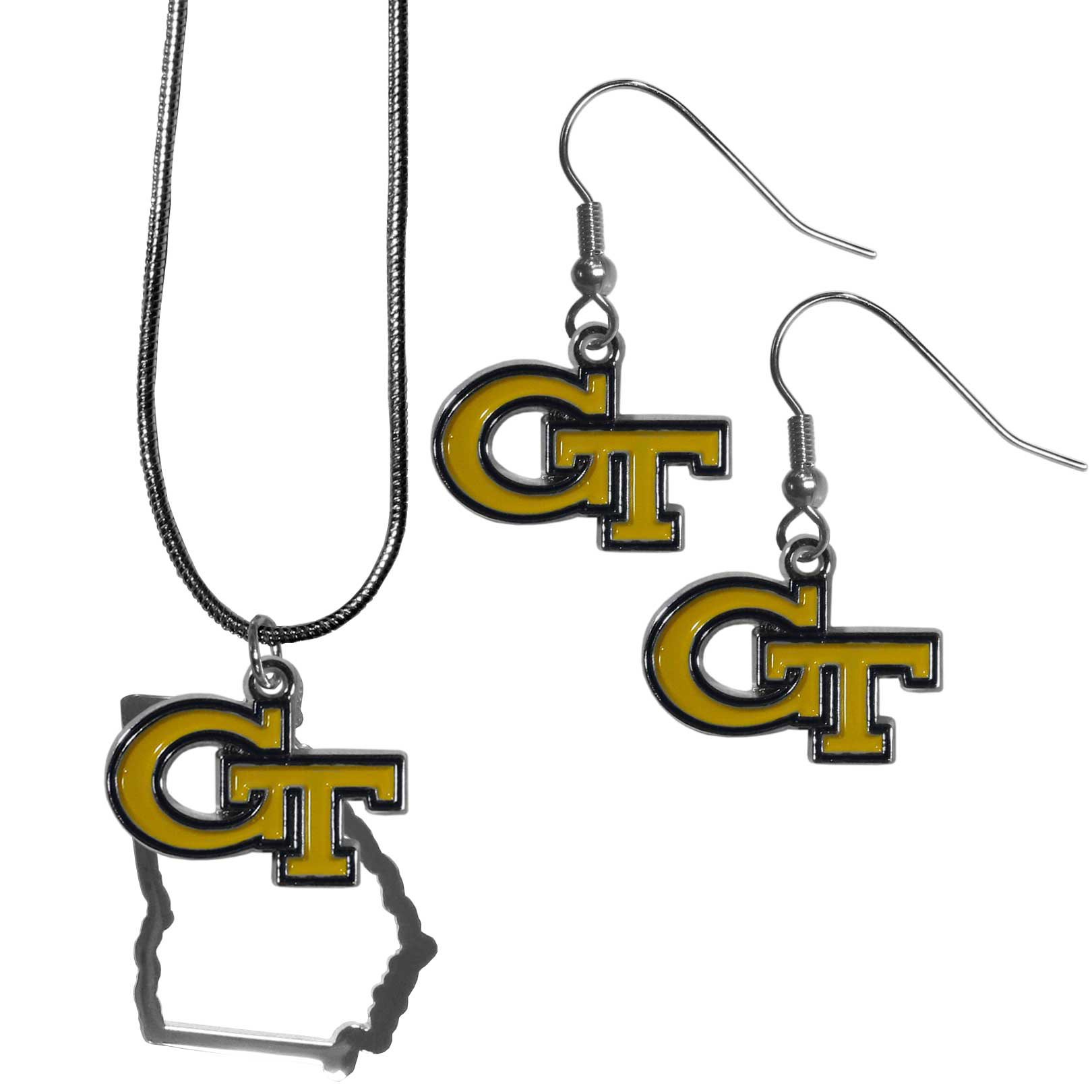 Georgia Tech Yellow Jackets Dangle Earrings and State Necklace Set - Get in on the trend! State themes are a trend that just keeps getting more popular and this jewelry set takes the state style and give it a sporty twist with a Georgia Tech Yellow Jackets necklace that features an Arizona state outline charm paired with a beautiful team charm and matching team charm dangle earrings. The earrings feature hypoallergenic fishhook posts that are nickel free.