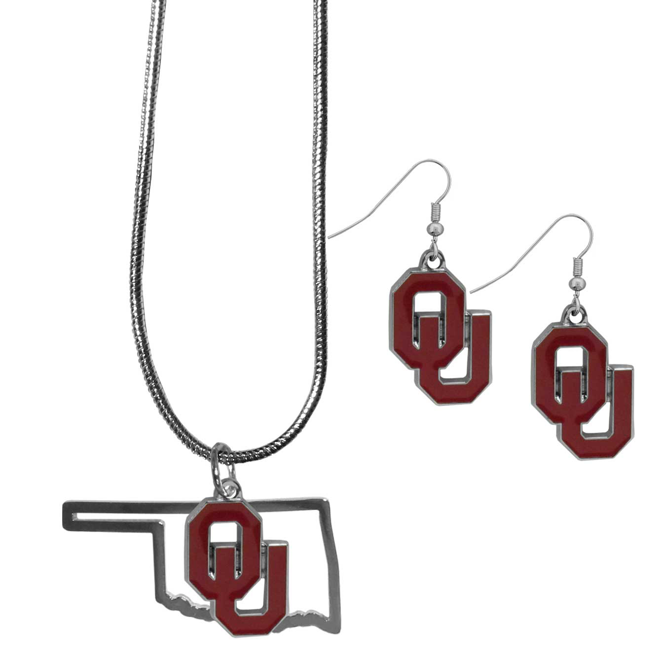 Oklahoma Sooners Dangle Earrings and State Necklace Set - Get in on the trend! State themes are a trend that just keeps getting more popular and this jewelry set takes the state style and give it a sporty twist with a Oklahoma Sooners necklace that features an Arizona state outline charm paired with a beautiful team charm and matching team charm dangle earrings. The earrings feature hypoallergenic fishhook posts that are nickel free.