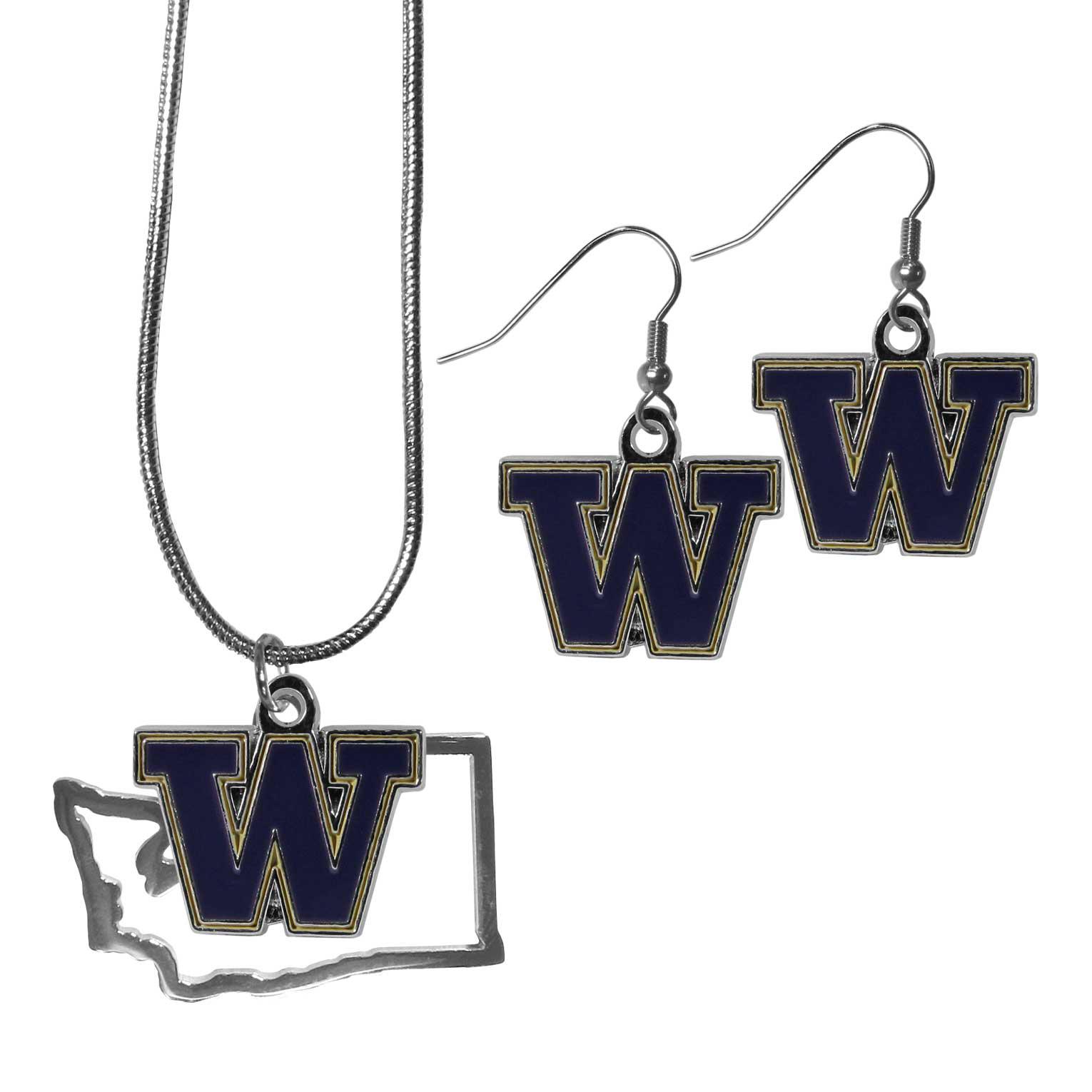 Washington Huskies Dangle Earrings and State Necklace Set - Get in on the trend! State themes are a trend that just keeps getting more popular and this jewelry set takes the state style and give it a sporty twist with a Washington Huskies necklace that features an Arizona state outline charm paired with a beautiful team charm and matching team charm dangle earrings. The earrings feature hypoallergenic fishhook posts that are nickel free.
