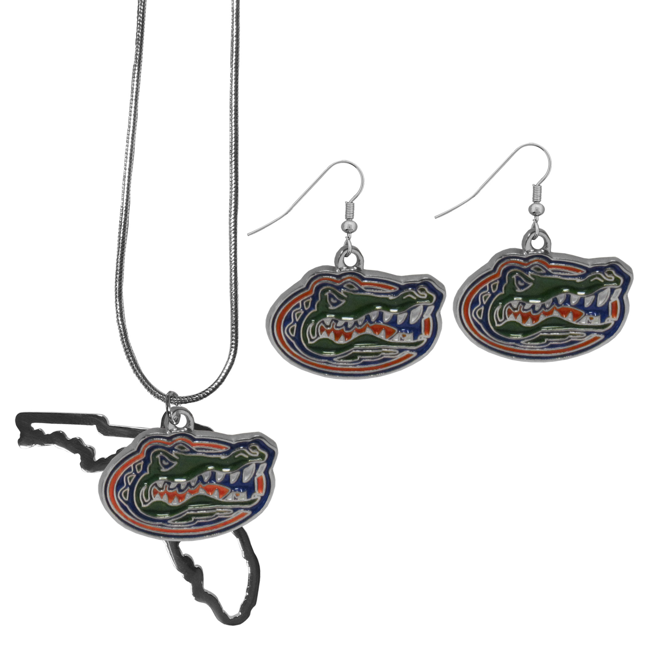 Florida Gators Dangle Earrings and State Necklace Set - Get in on the trend! State themes are a trend that just keeps getting more popular and this jewelry set takes the state style and give it a sporty twist with a Florida Gators necklace that features an Arizona state outline charm paired with a beautiful team charm and matching team charm dangle earrings. The earrings feature hypoallergenic fishhook posts that are nickel free.