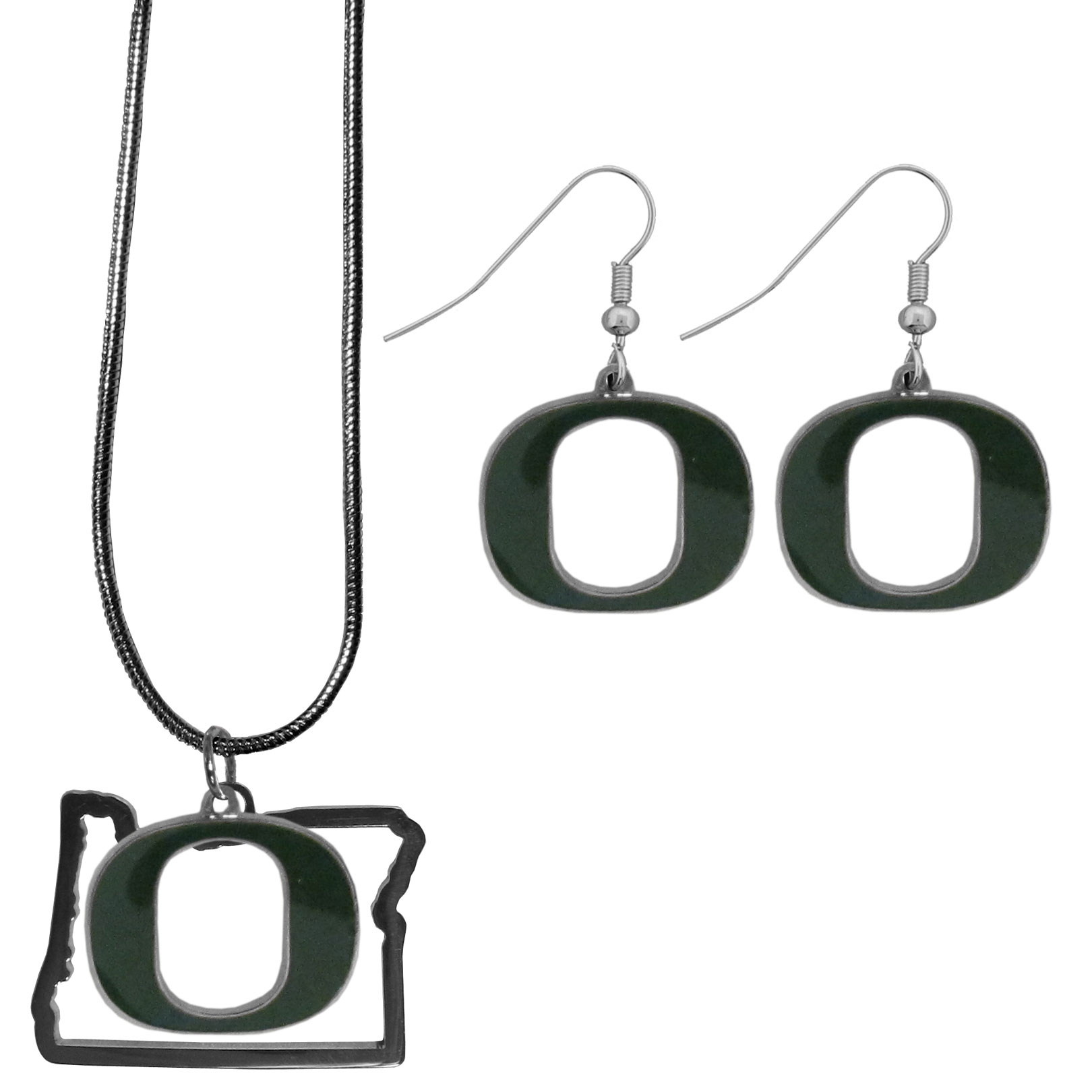 Oregon Ducks Dangle Earrings and State Necklace Set - Get in on the trend! State themes are a trend that just keeps getting more popular and this jewelry set takes the state style and give it a sporty twist with a Oregon Ducks necklace that features an Arizona state outline charm paired with a beautiful team charm and matching team charm dangle earrings. The earrings feature hypoallergenic fishhook posts that are nickel free.