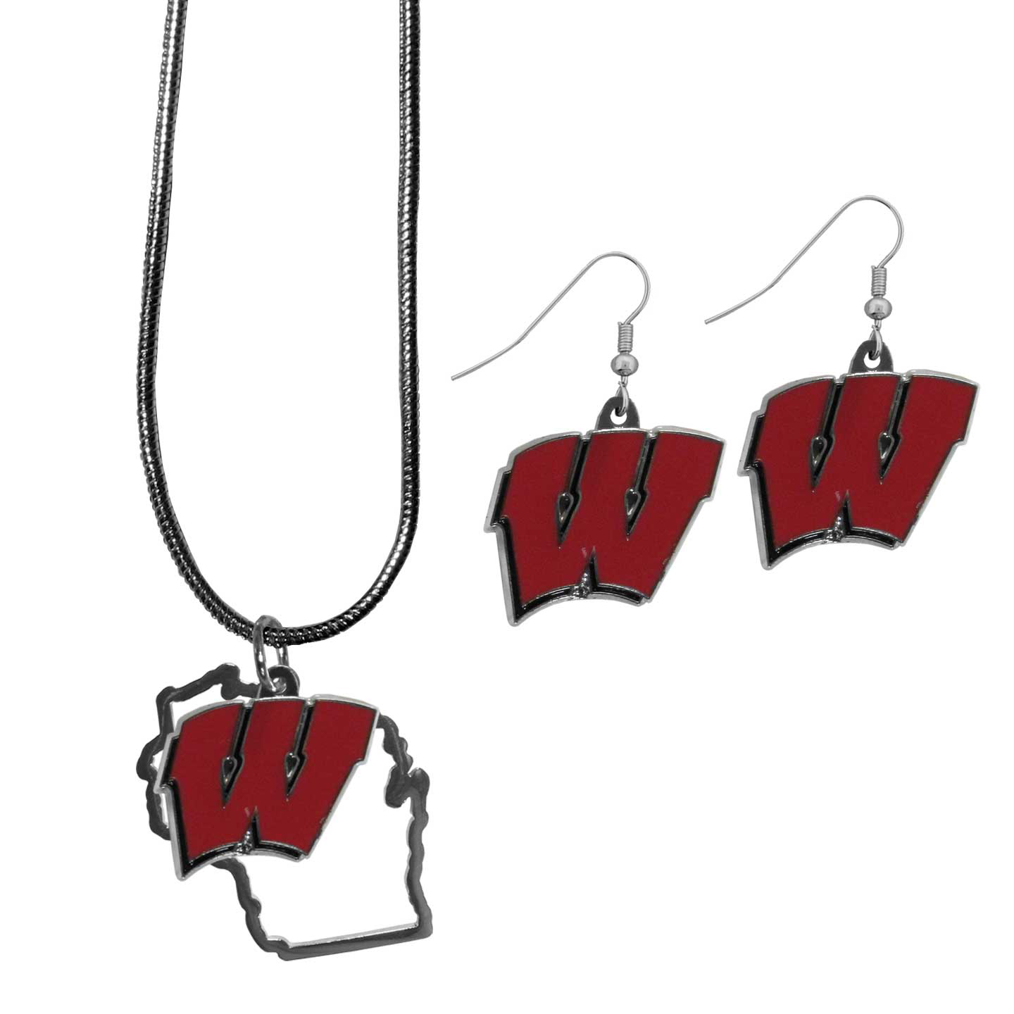Wisconsin Badgers Dangle Earrings and State Necklace Set - Get in on the trend! State themes are a trend that just keeps getting more popular and this jewelry set takes the state style and give it a sporty twist with a Wisconsin Badgers necklace that features an Arizona state outline charm paired with a beautiful team charm and matching team charm dangle earrings. The earrings feature hypoallergenic fishhook posts that are nickel free.