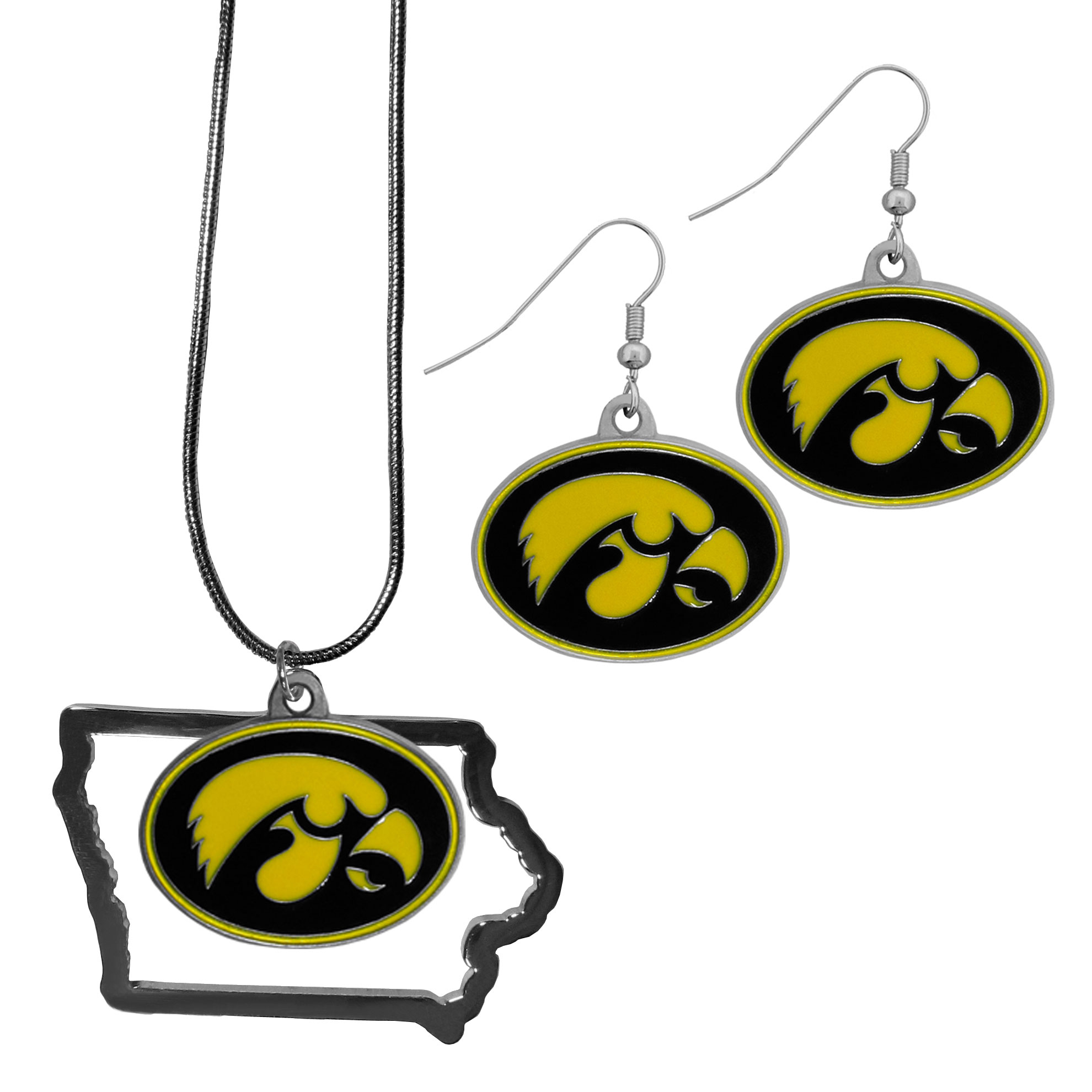 Iowa Hawkeyes Dangle Earrings and State Necklace Set - Get in on the trend! State themes are a trend that just keeps getting more popular and this jewelry set takes the state style and give it a sporty twist with a Iowa Hawkeyes necklace that features an Arizona state outline charm paired with a beautiful team charm and matching team charm dangle earrings. The earrings feature hypoallergenic fishhook posts that are nickel free.