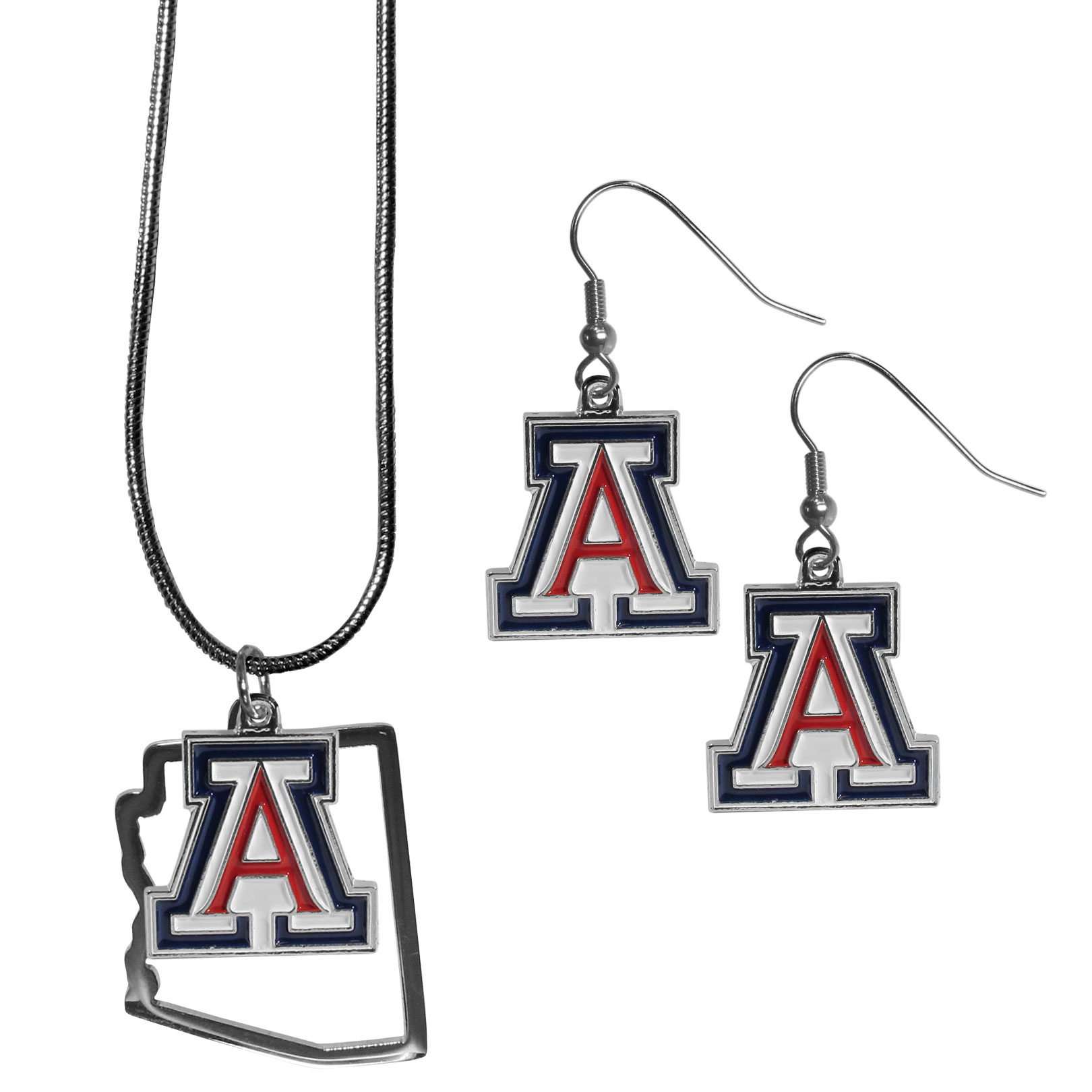 Arizona Wildcats Dangle Earrings and State Necklace Set - Get in on the trend! State themes are a trend that just keeps getting more popular and this jewelry set takes the state style and give it a sporty twist with a Arizona Wildcats necklace that features an Arizona state outline charm paired with a beautiful team charm and matching team charm dangle earrings. The earrings feature hypoallergenic fishhook posts that are nickel free.