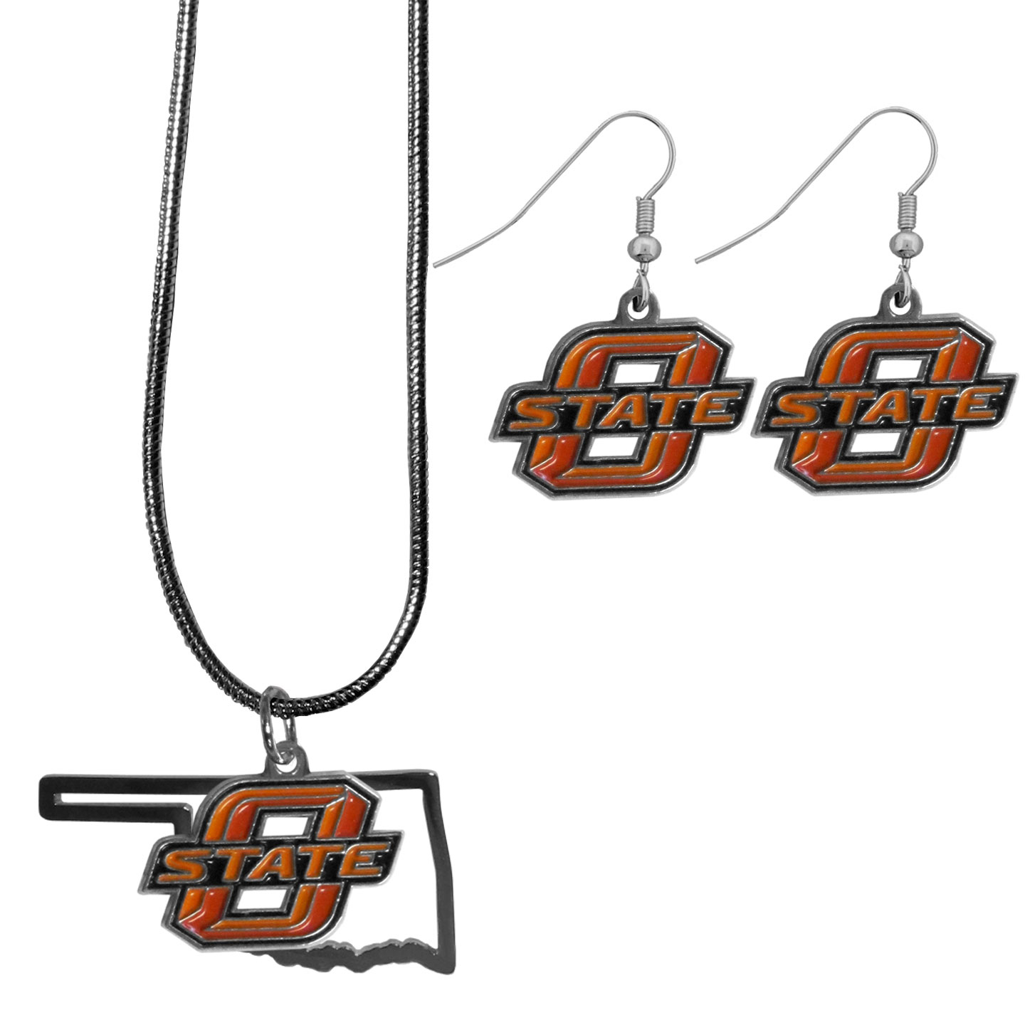 Oklahoma St. Cowboys Dangle Earrings and State Necklace Set - Get in on the trend! State themes are a trend that just keeps getting more popular and this jewelry set takes the state style and give it a sporty twist with a Oklahoma St. Cowboys necklace that features an Arizona state outline charm paired with a beautiful team charm and matching team charm dangle earrings. The earrings feature hypoallergenic fishhook posts that are nickel free.