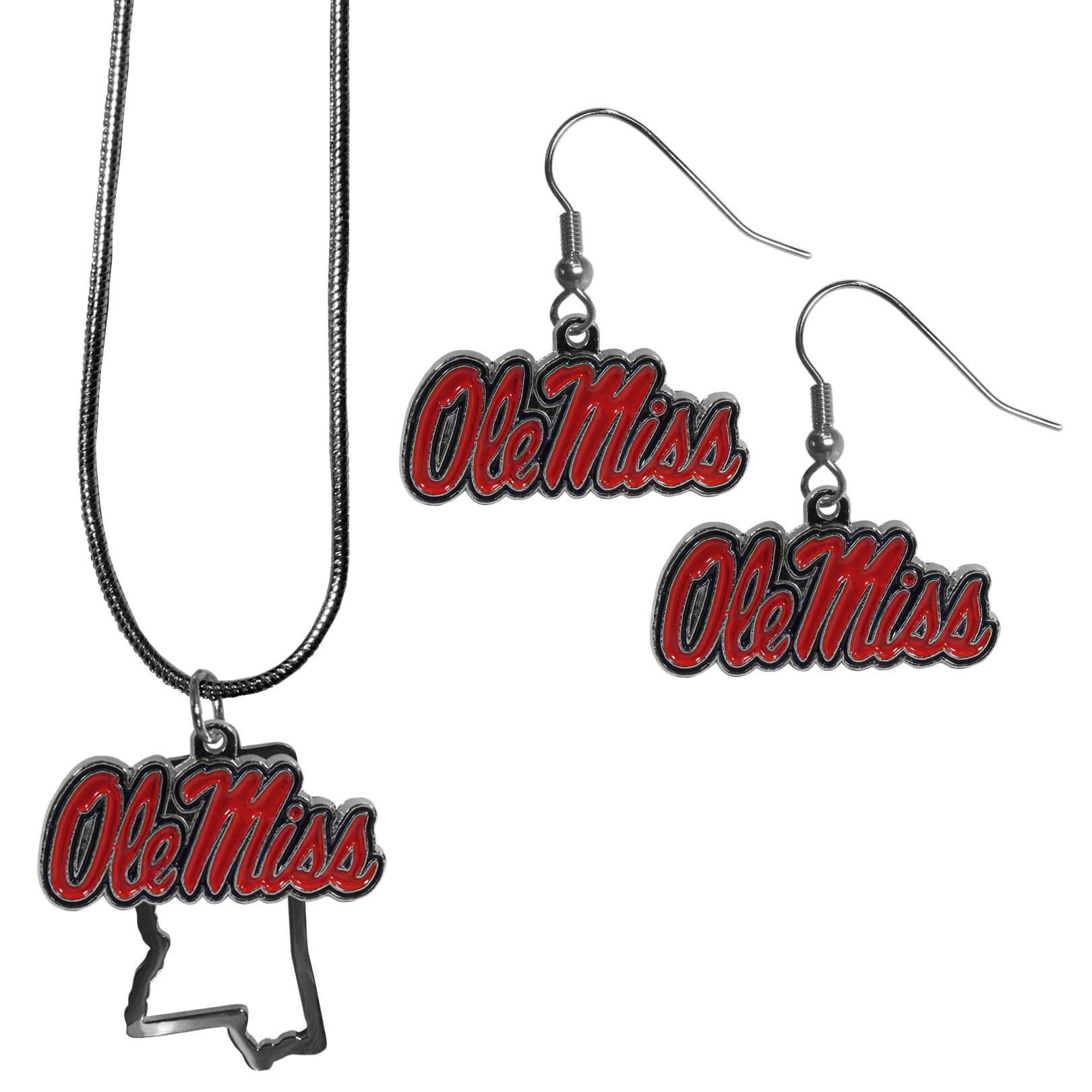 Mississippi Rebels Dangle Earrings and State Necklace Set - Get in on the trend! State themes are a trend that just keeps getting more popular and this jewelry set takes the state style and give it a sporty twist with a Mississippi Rebels necklace that features an Arizona state outline charm paired with a beautiful team charm and matching team charm dangle earrings. The earrings feature hypoallergenic fishhook posts that are nickel free.