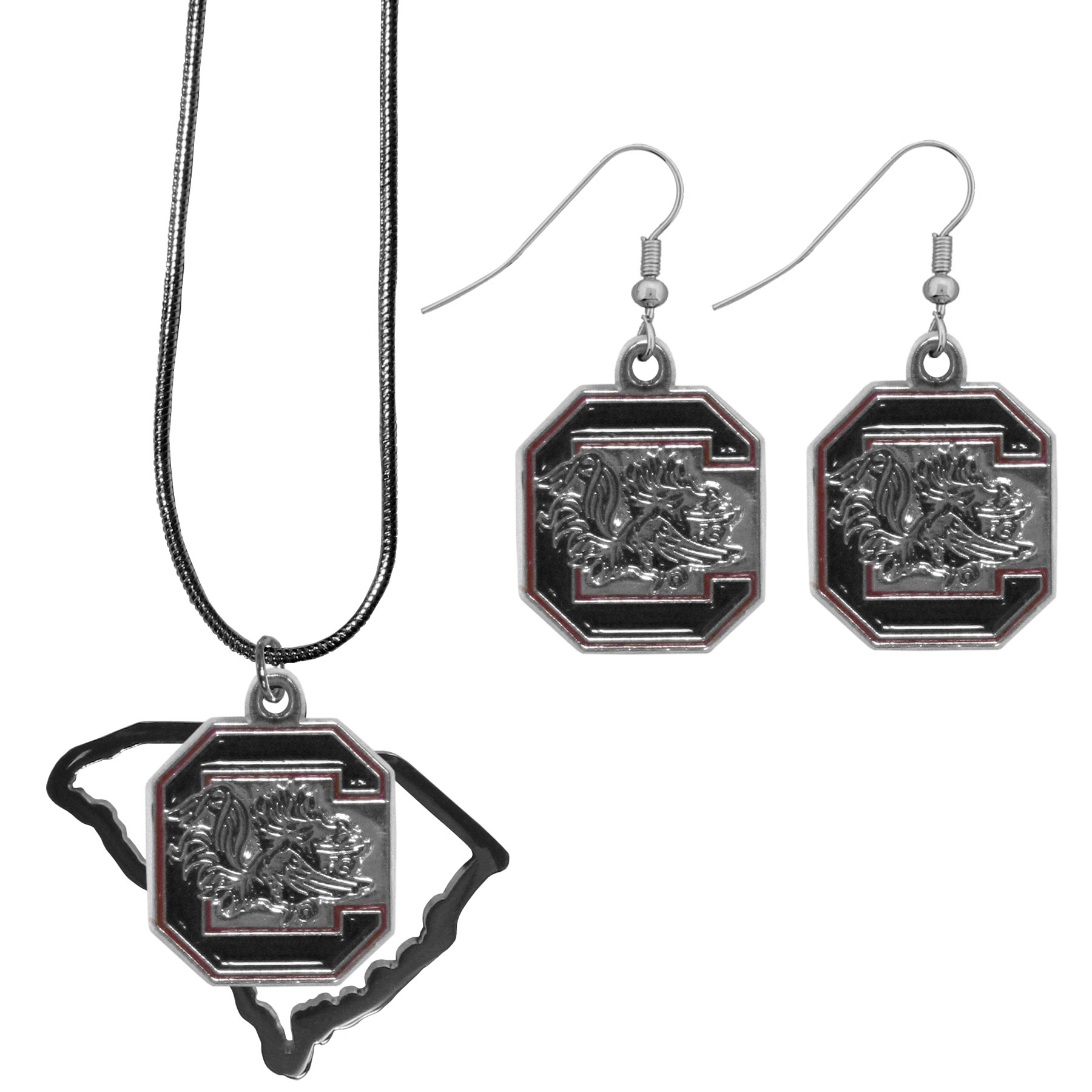 S. Carolina Gamecocks Dangle Earrings and State Necklace Set - Get in on the trend! State themes are a trend that just keeps getting more popular and this jewelry set takes the state style and give it a sporty twist with a S. Carolina Gamecocks necklace that features an Arizona state outline charm paired with a beautiful team charm and matching team charm dangle earrings. The earrings feature hypoallergenic fishhook posts that are nickel free.