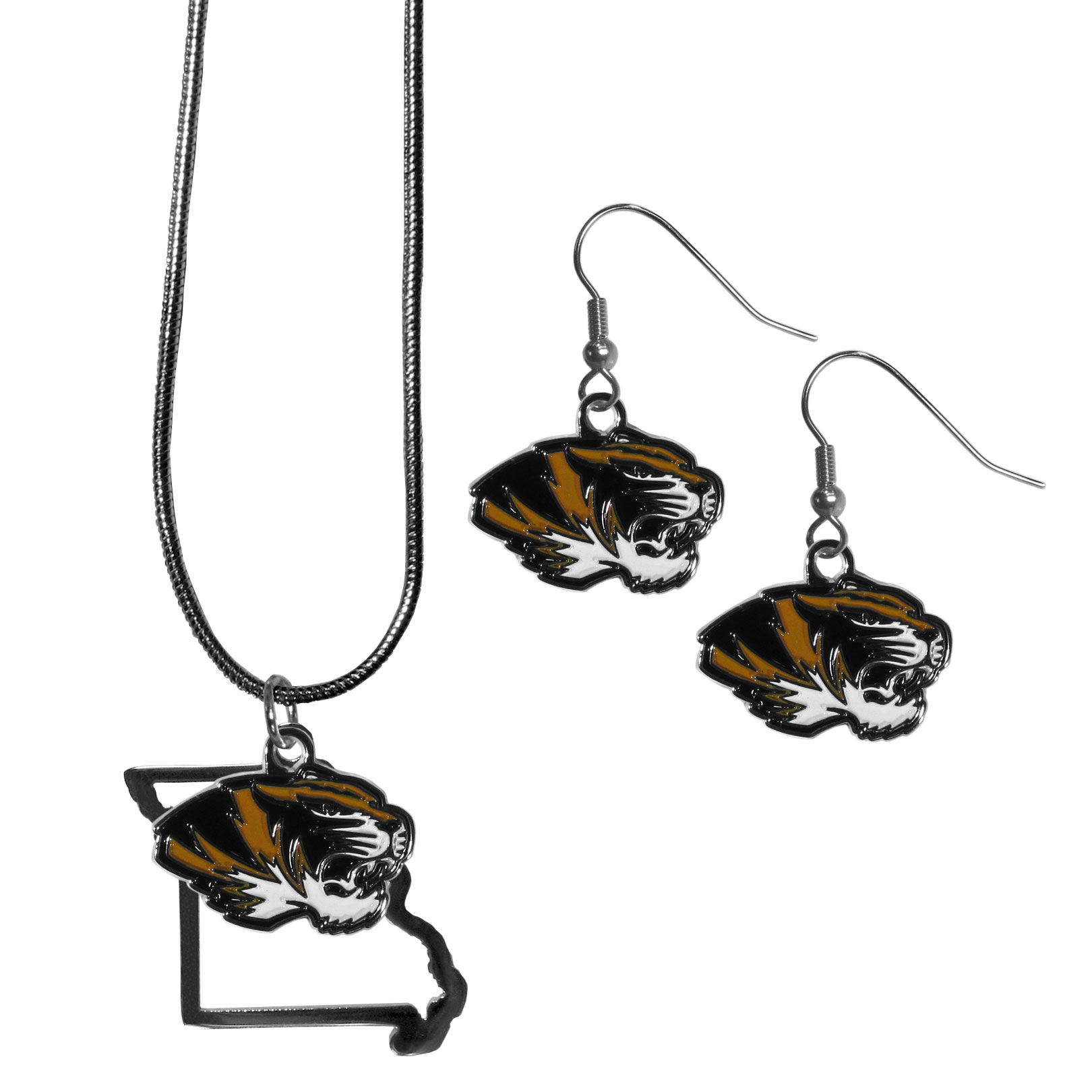 Missouri Tigers Dangle Earrings and State Necklace Set - Get in on the trend! State themes are a trend that just keeps getting more popular and this jewelry set takes the state style and give it a sporty twist with a Missouri Tigers necklace that features an Arizona state outline charm paired with a beautiful team charm and matching team charm dangle earrings. The earrings feature hypoallergenic fishhook posts that are nickel free.