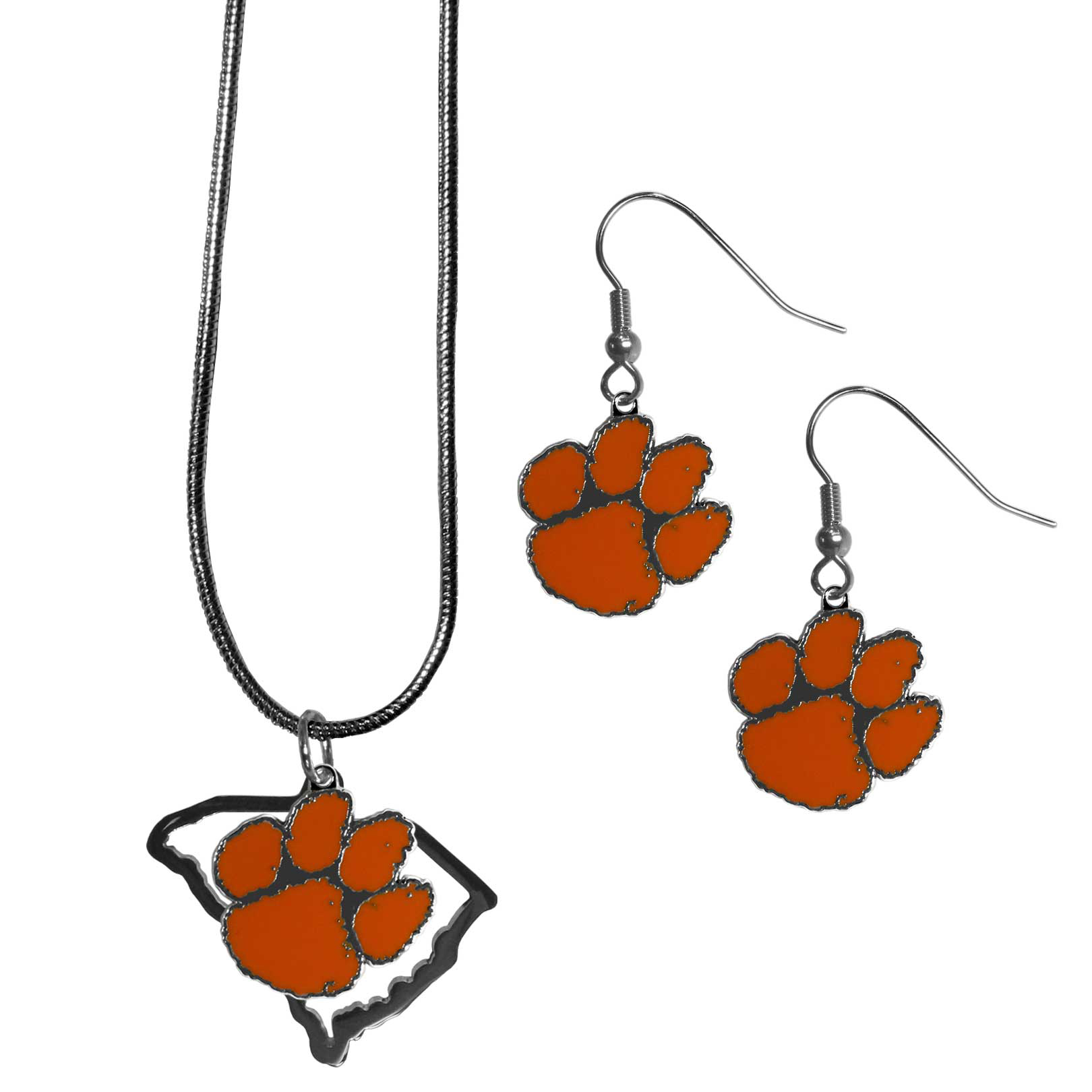 Clemson Tigers Dangle Earrings and State Necklace Set - Get in on the trend! State themes are a trend that just keeps getting more popular and this jewelry set takes the state style and give it a sporty twist with a Clemson Tigers necklace that features an Arizona state outline charm paired with a beautiful team charm and matching team charm dangle earrings. The earrings feature hypoallergenic fishhook posts that are nickel free.