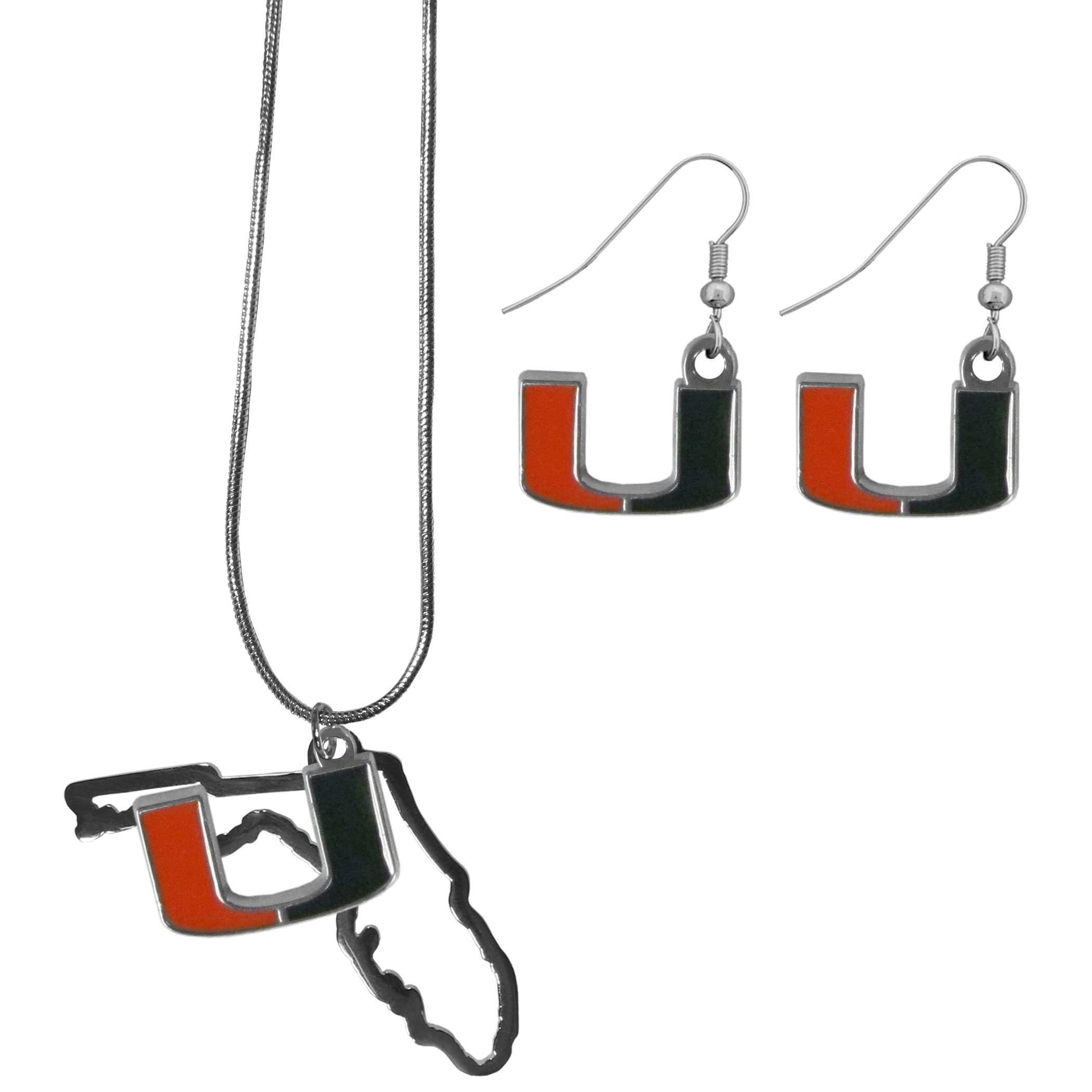 Miami Hurricanes Dangle Earrings and State Necklace Set - Get in on the trend! State themes are a trend that just keeps getting more popular and this jewelry set takes the state style and give it a sporty twist with a Miami Hurricanes necklace that features an Arizona state outline charm paired with a beautiful team charm and matching team charm dangle earrings. The earrings feature hypoallergenic fishhook posts that are nickel free.