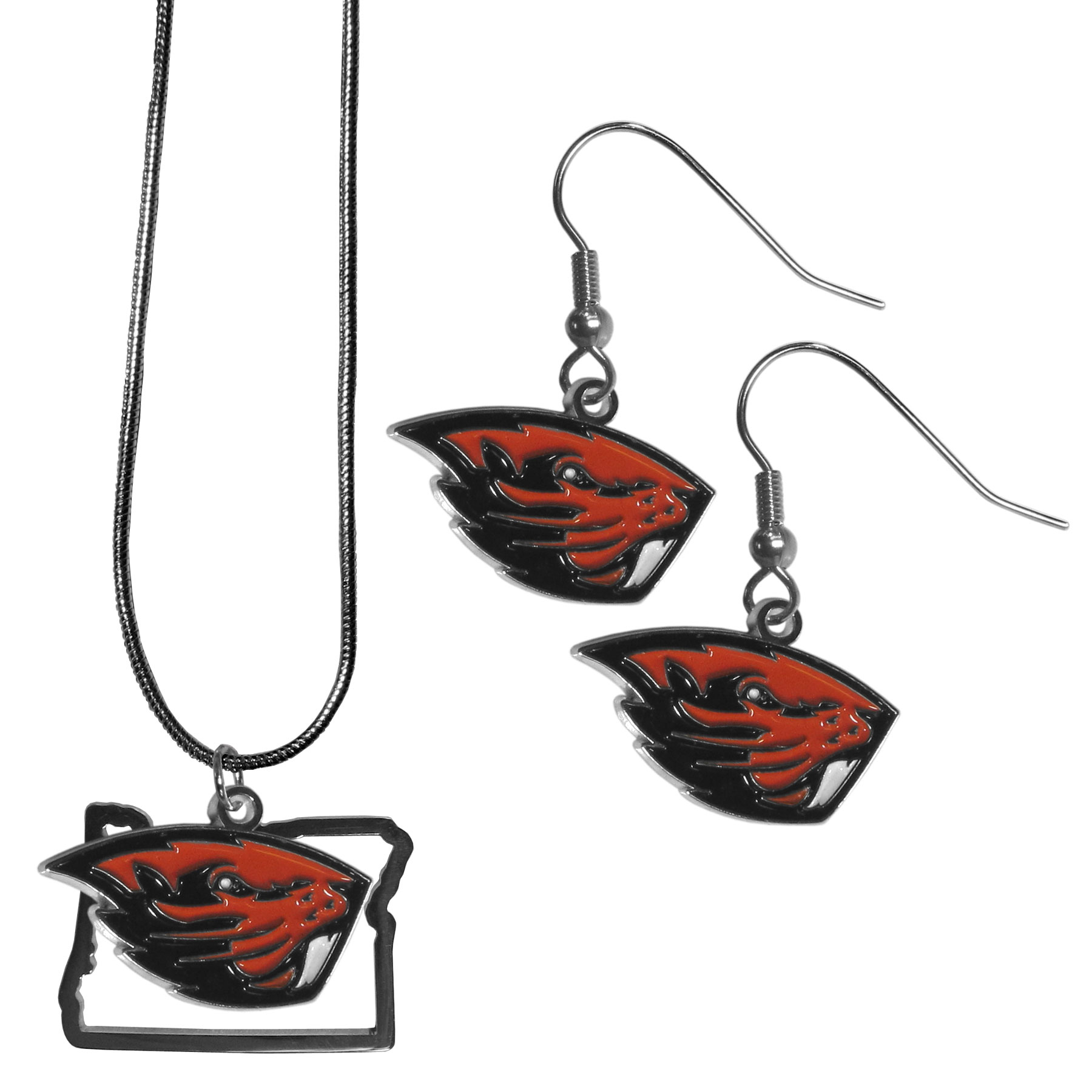 Oregon St. Beavers Dangle Earrings and State Necklace Set - Get in on the trend! State themes are a trend that just keeps getting more popular and this jewelry set takes the state style and give it a sporty twist with a Oregon St. Beavers necklace that features an Arizona state outline charm paired with a beautiful team charm and matching team charm dangle earrings. The earrings feature hypoallergenic fishhook posts that are nickel free.