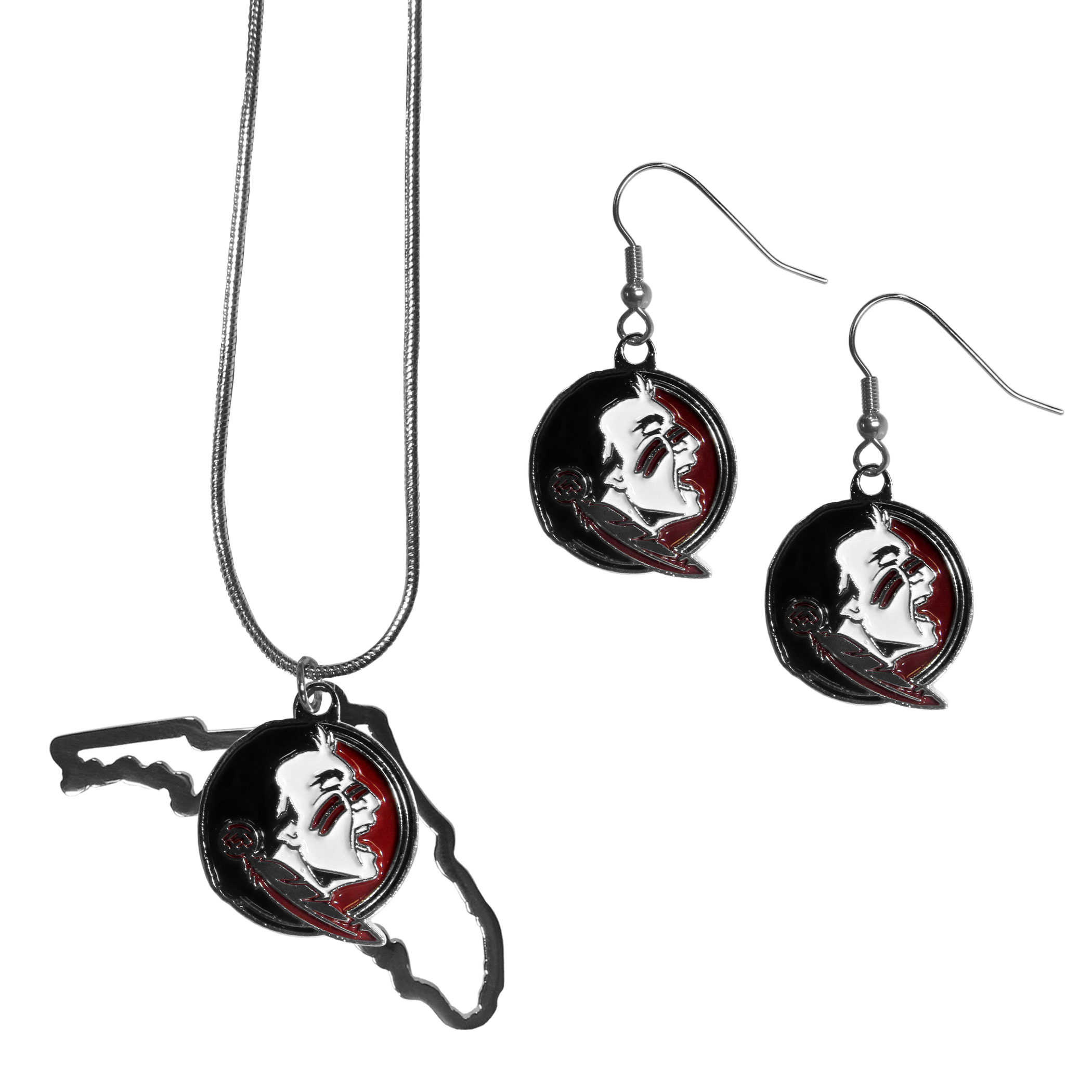 Florida St. Seminoles Dangle Earrings and State Necklace Set - Get in on the trend! State themes are a trend that just keeps getting more popular and this jewelry set takes the state style and give it a sporty twist with a Florida St. Seminoles necklace that features an Arizona state outline charm paired with a beautiful team charm and matching team charm dangle earrings. The earrings feature hypoallergenic fishhook posts that are nickel free.