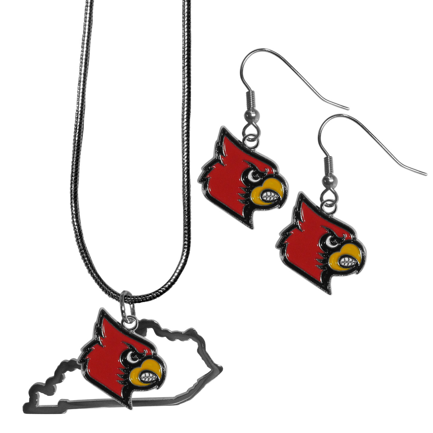 Louisville Cardinals Dangle Earrings and State Necklace Set - Get in on the trend! State themes are a trend that just keeps getting more popular and this jewelry set takes the state style and give it a sporty twist with a Louisville Cardinals necklace that features an Arizona state outline charm paired with a beautiful team charm and matching team charm dangle earrings. The earrings feature hypoallergenic fishhook posts that are nickel free.