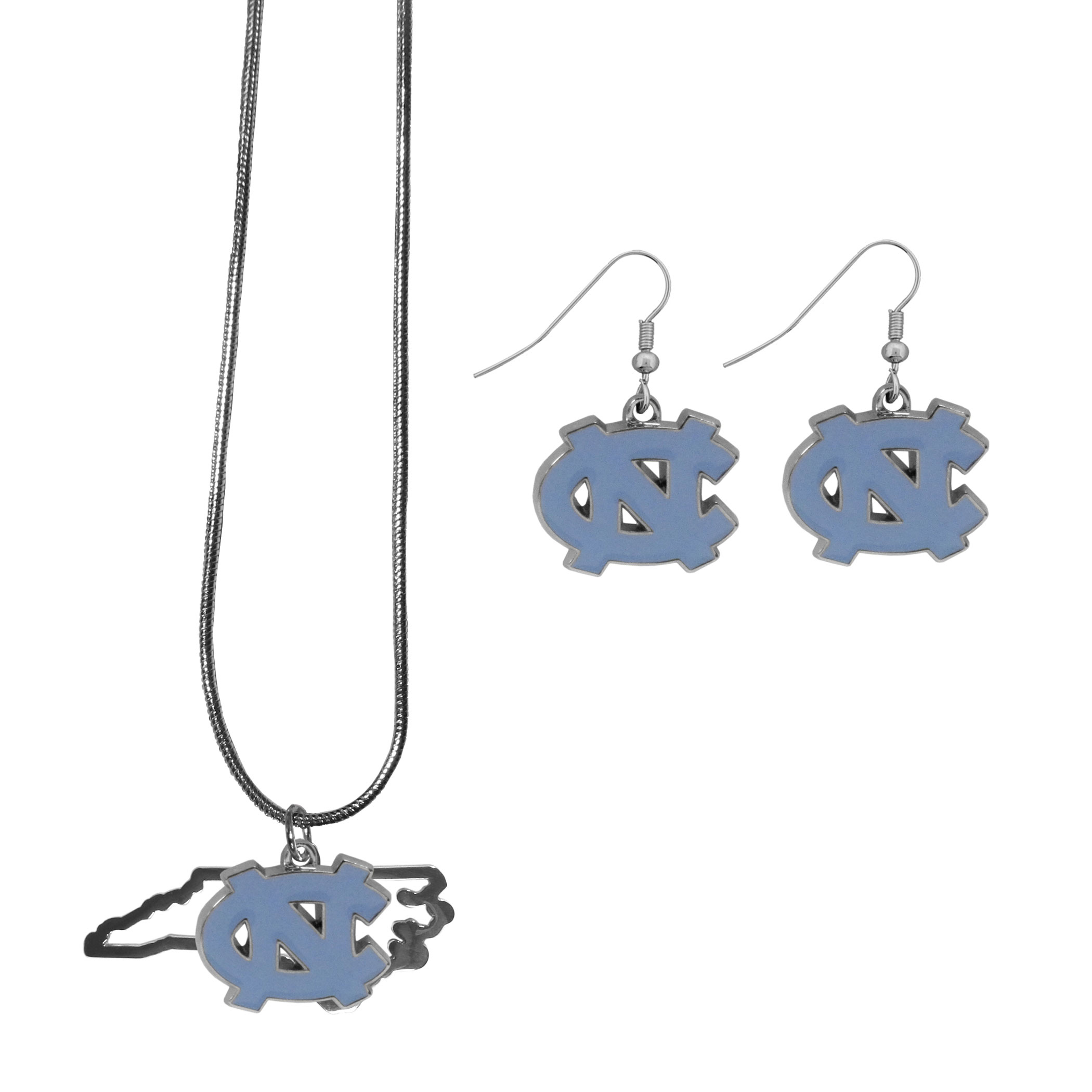 N. Carolina Tar Heels Dangle Earrings and State Necklace Set - Get in on the trend! State themes are a trend that just keeps getting more popular and this jewelry set takes the state style and give it a sporty twist with a N. Carolina Tar Heels necklace that features an Arizona state outline charm paired with a beautiful team charm and matching team charm dangle earrings. The earrings feature hypoallergenic fishhook posts that are nickel free.
