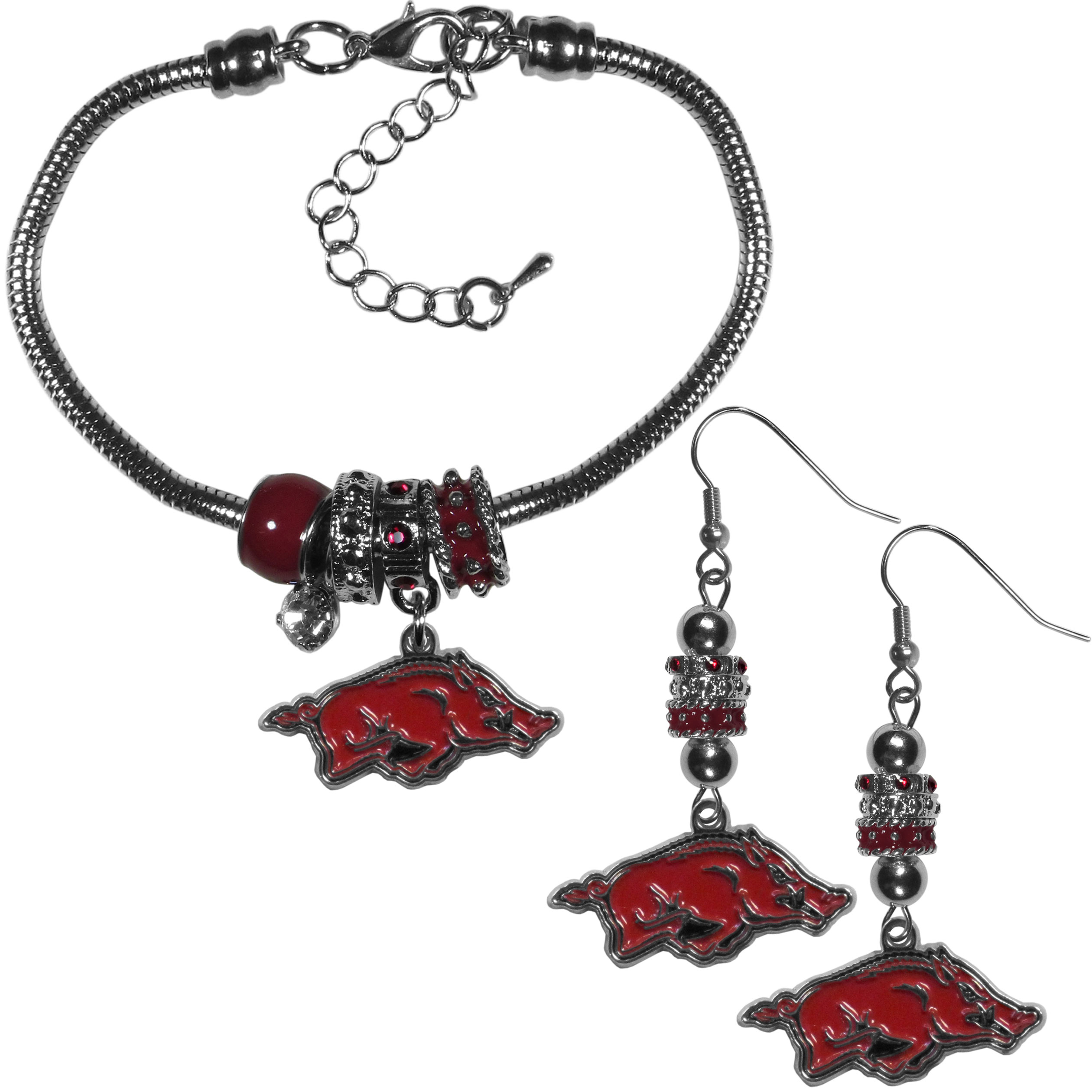 Arkansas Razorbacks Euro Bead Earrings and Bracelet Set - We combine the popular Euro bead style with your love of the Arkansas Razorbacks with this beautiful jewelry set that includes earrings and a matching bracelet. The stylish earrings feature hypoallergenic, nickel free fishhook posts and 3 team colored Euro beads and a metal team charm. The matching snake chain bracelet is 7.5 inches long with a 2 inch extender and 4 Euro beads with a rhinestone charm and team charm.