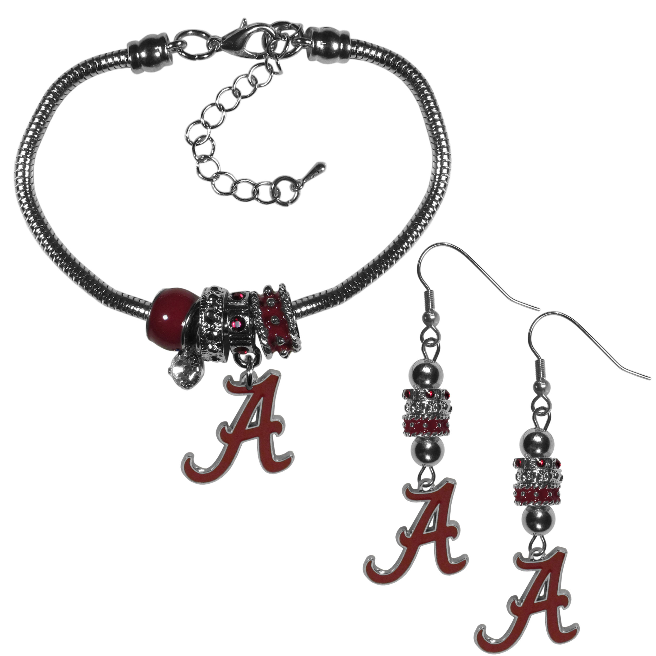 Alabama Crimson Tide Euro Bead Earrings and Bracelet Set - We combine the popular Euro bead style with your love of the Alabama Crimson Tide with this beautiful jewelry set that includes earrings and a matching bracelet. The stylish earrings feature hypoallergenic, nickel free fishhook posts and 3 team colored Euro beads and a metal team charm. The matching snake chain bracelet is 7.5 inches long with a 2 inch extender and 4 Euro beads with a rhinestone charm and team charm.