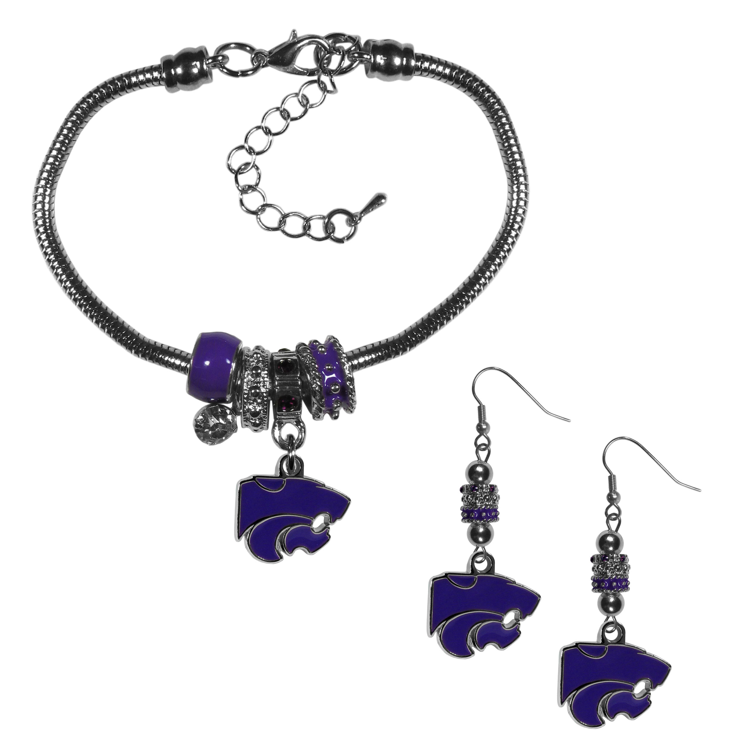 Kansas St. Wildcats Euro Bead Earrings and Bracelet Set - We combine the popular Euro bead style with your love of the Kansas St. Wildcats with this beautiful jewelry set that includes earrings and a matching bracelet. The stylish earrings feature hypoallergenic, nickel free fishhook posts and 3 team colored Euro beads and a metal team charm. The matching snake chain bracelet is 7.5 inches long with a 2 inch extender and 4 Euro beads with a rhinestone charm and team charm.