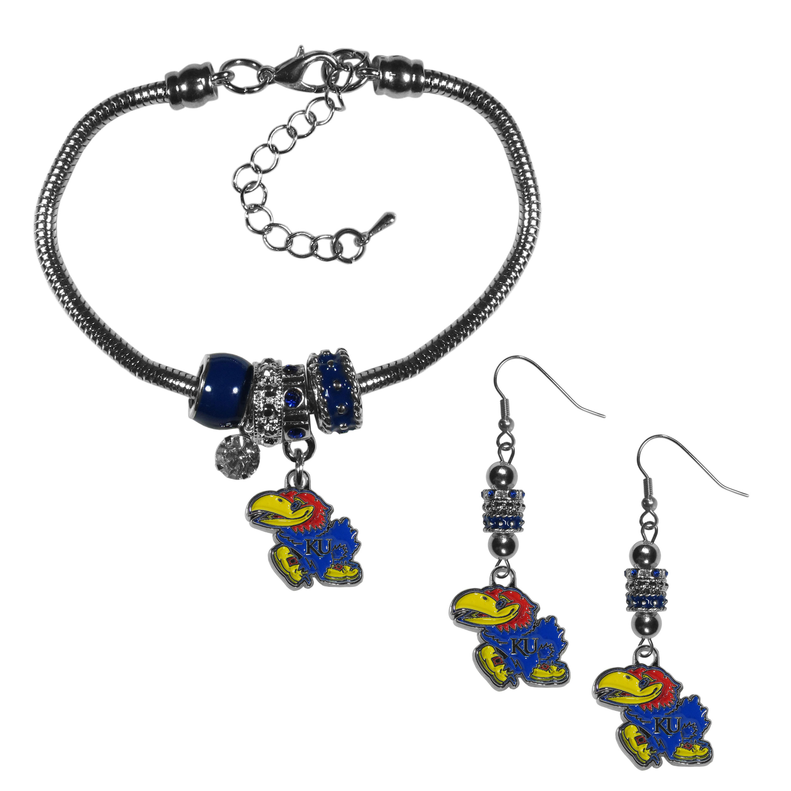 Kansas Jayhawks Euro Bead Earrings and Bracelet Set - We combine the popular Euro bead style with your love of the Kansas Jayhawks with this beautiful jewelry set that includes earrings and a matching bracelet. The stylish earrings feature hypoallergenic, nickel free fishhook posts and 3 team colored Euro beads and a metal team charm. The matching snake chain bracelet is 7.5 inches long with a 2 inch extender and 4 Euro beads with a rhinestone charm and team charm.