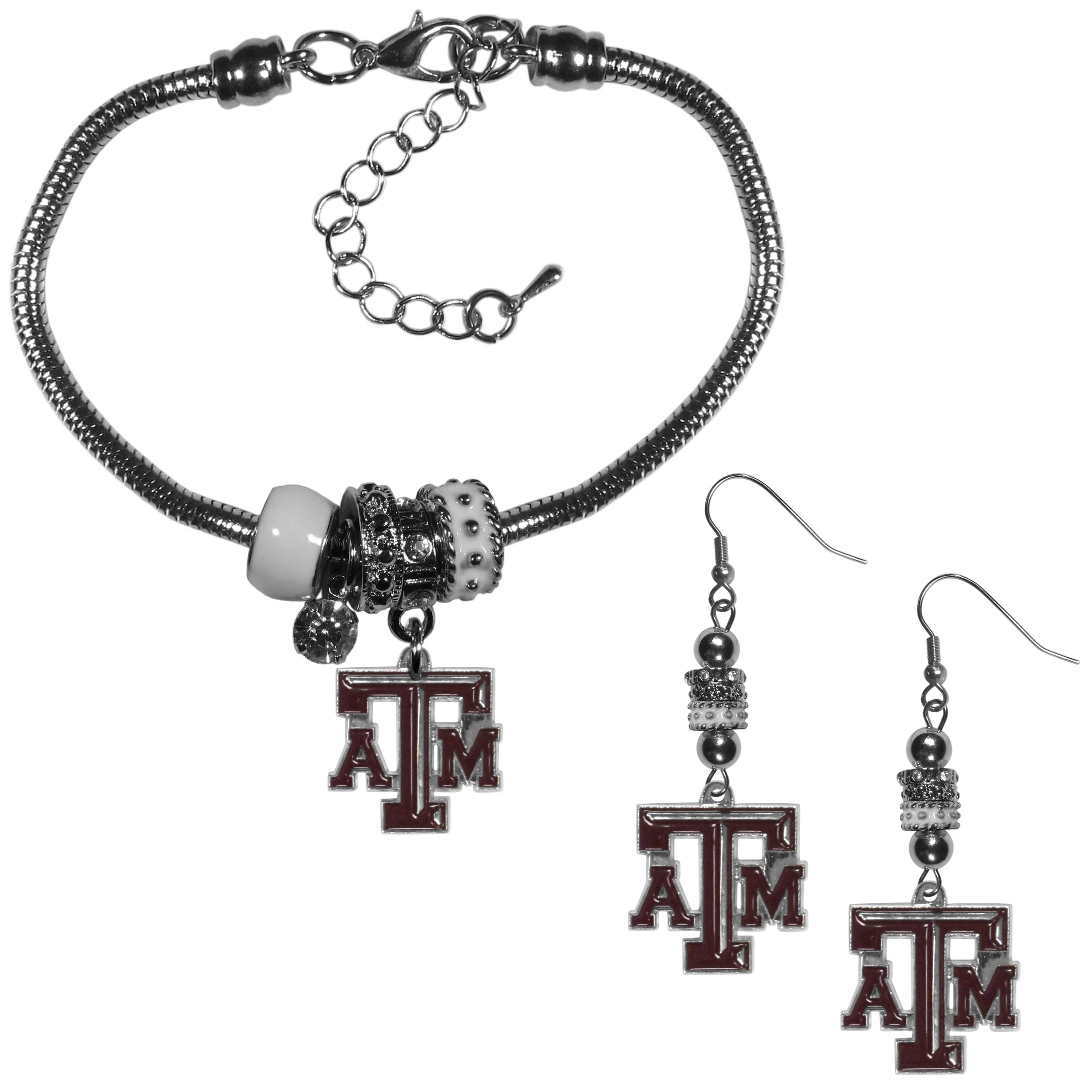 Texas A and M Aggies Euro Bead Earrings and Bracelet Set - We combine the popular Euro bead style with your love of the Texas A & M Aggies with this beautiful jewelry set that includes earrings and a matching bracelet. The stylish earrings feature hypoallergenic, nickel free fishhook posts and 3 team colored Euro beads and a metal team charm. The matching snake chain bracelet is 7.5 inches long with a 2 inch extender and 4 Euro beads with a rhinestone charm and team charm.