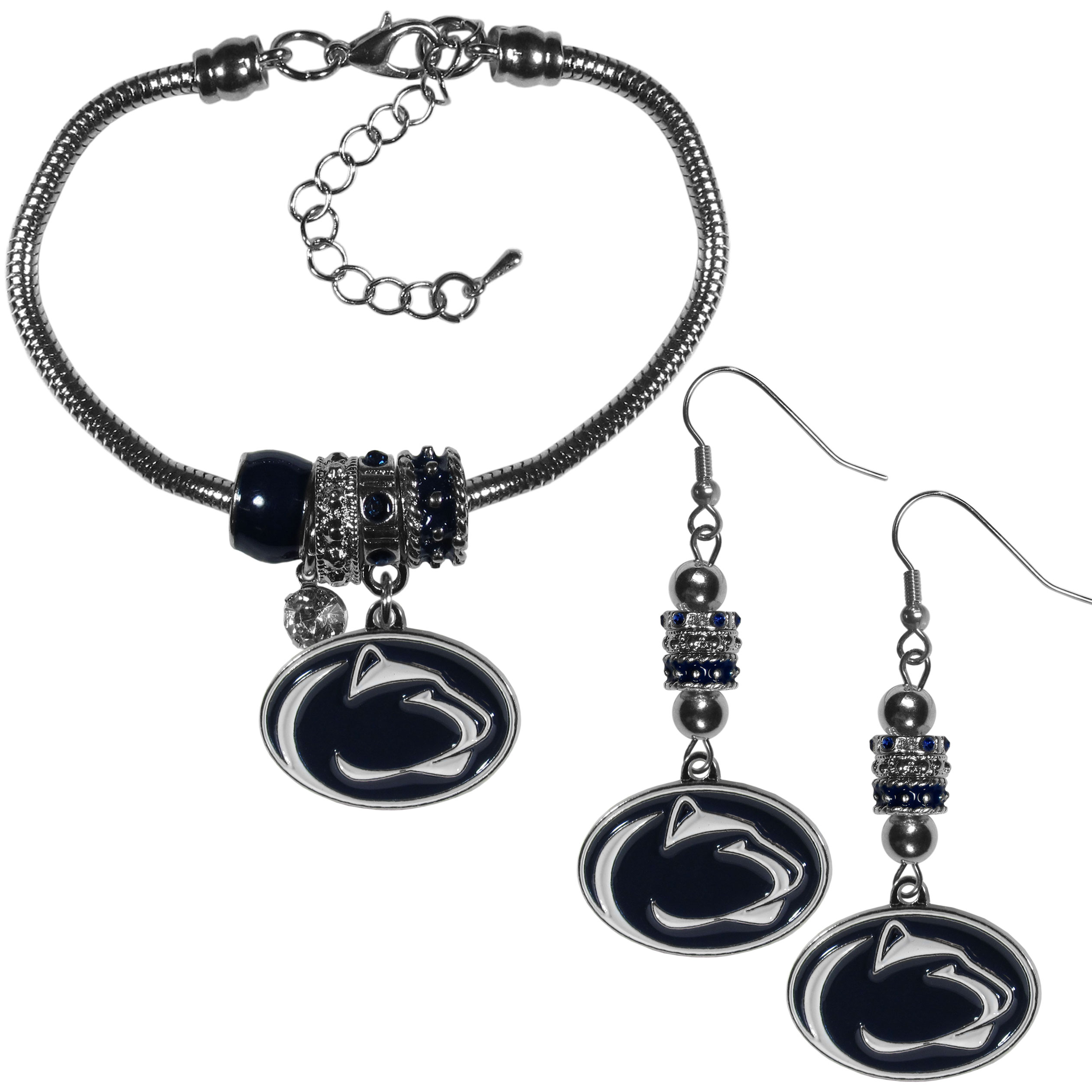 Penn St. Nittany Lions Euro Bead Earrings and Bracelet Set - We combine the popular Euro bead style with your love of the Penn St. Nittany Lions with this beautiful jewelry set that includes earrings and a matching bracelet. The stylish earrings feature hypoallergenic, nickel free fishhook posts and 3 team colored Euro beads and a metal team charm. The matching snake chain bracelet is 7.5 inches long with a 2 inch extender and 4 Euro beads with a rhinestone charm and team charm.