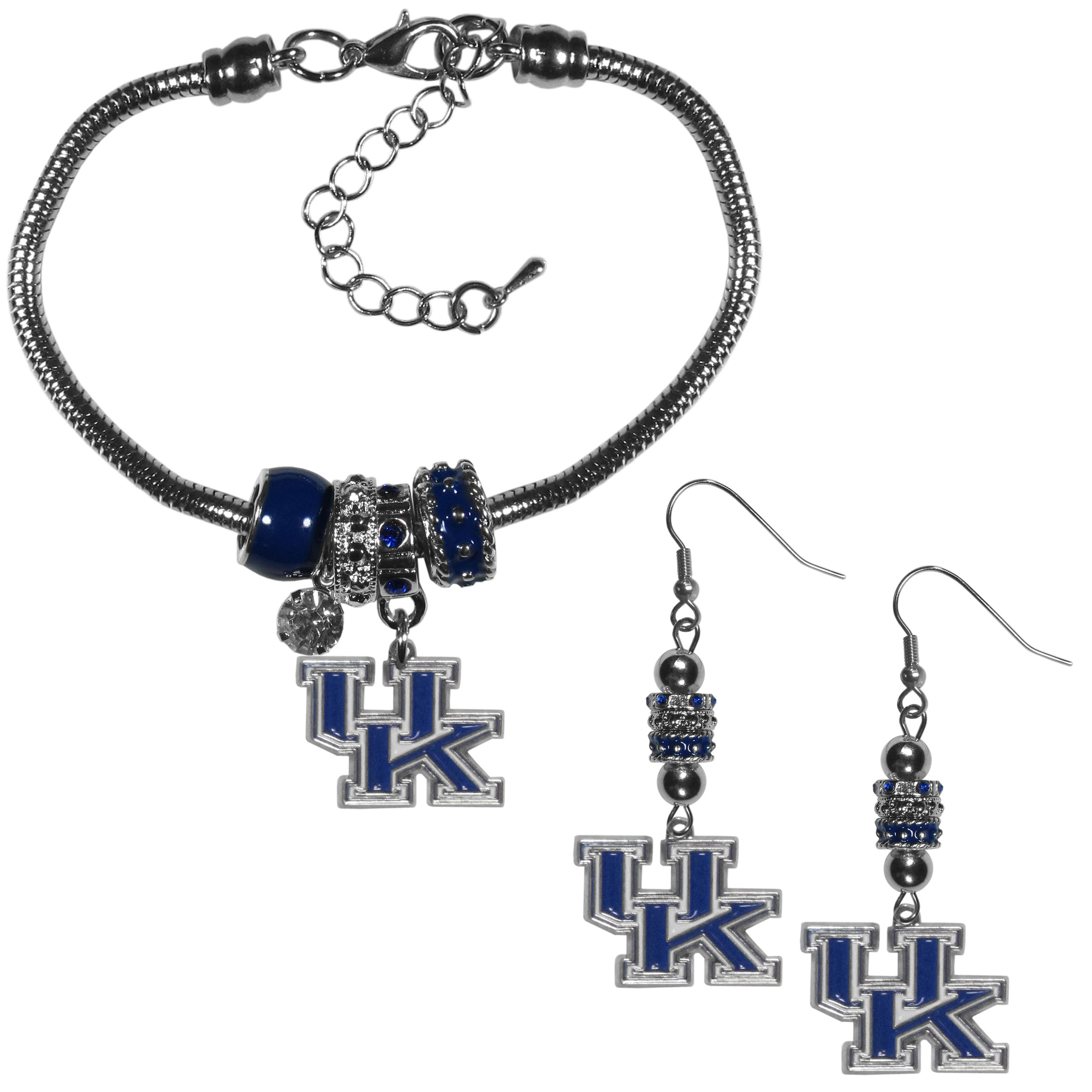 Kentucky Wildcats Euro Bead Earrings and Bracelet Set - We combine the popular Euro bead style with your love of the Kentucky Wildcats with this beautiful jewelry set that includes earrings and a matching bracelet. The stylish earrings feature hypoallergenic, nickel free fishhook posts and 3 team colored Euro beads and a metal team charm. The matching snake chain bracelet is 7.5 inches long with a 2 inch extender and 4 Euro beads with a rhinestone charm and team charm.