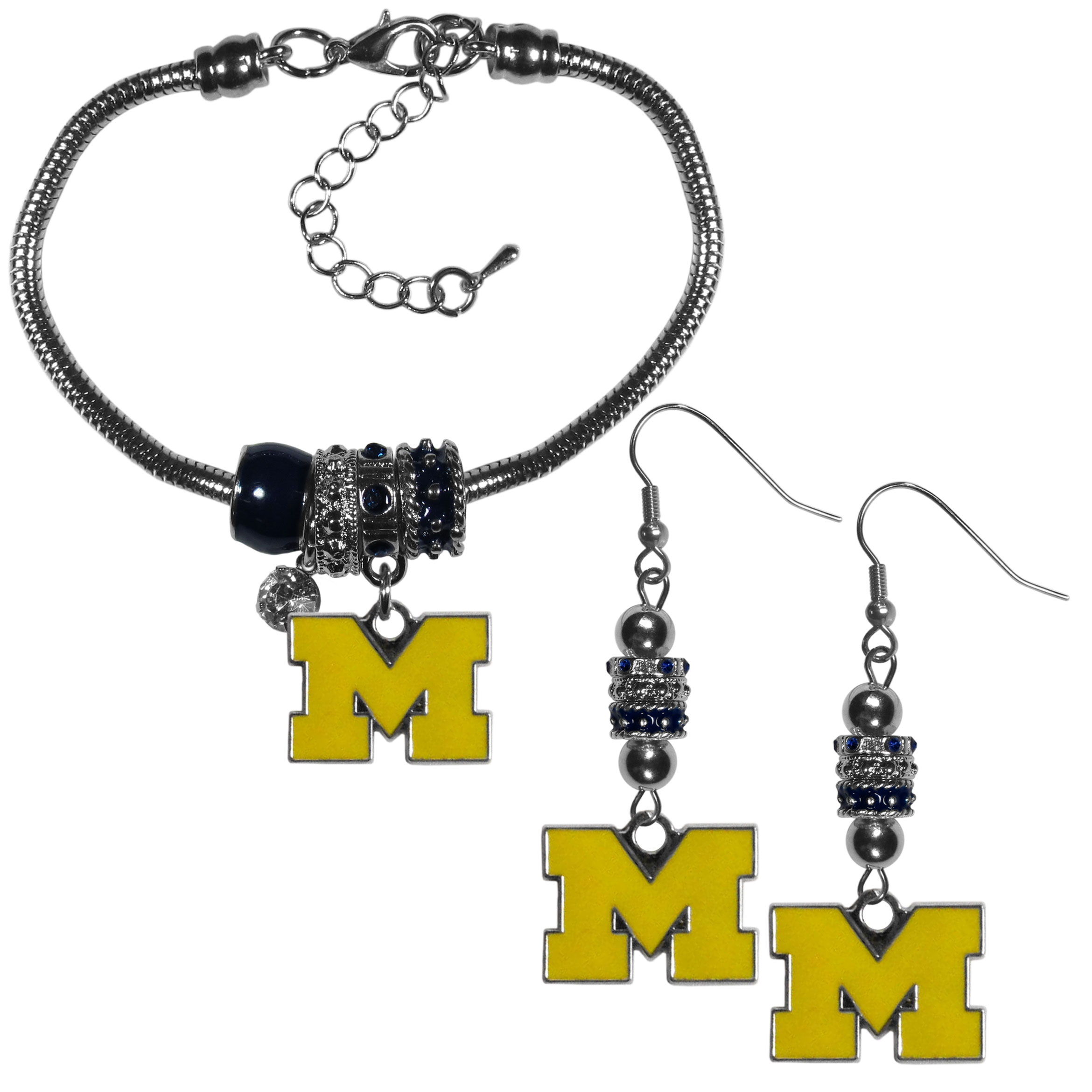 Michigan Wolverines Euro Bead Earrings and Bracelet Set - We combine the popular Euro bead style with your love of the Michigan Wolverines with this beautiful jewelry set that includes earrings and a matching bracelet. The stylish earrings feature hypoallergenic, nickel free fishhook posts and 3 team colored Euro beads and a metal team charm. The matching snake chain bracelet is 7.5 inches long with a 2 inch extender and 4 Euro beads with a rhinestone charm and team charm.