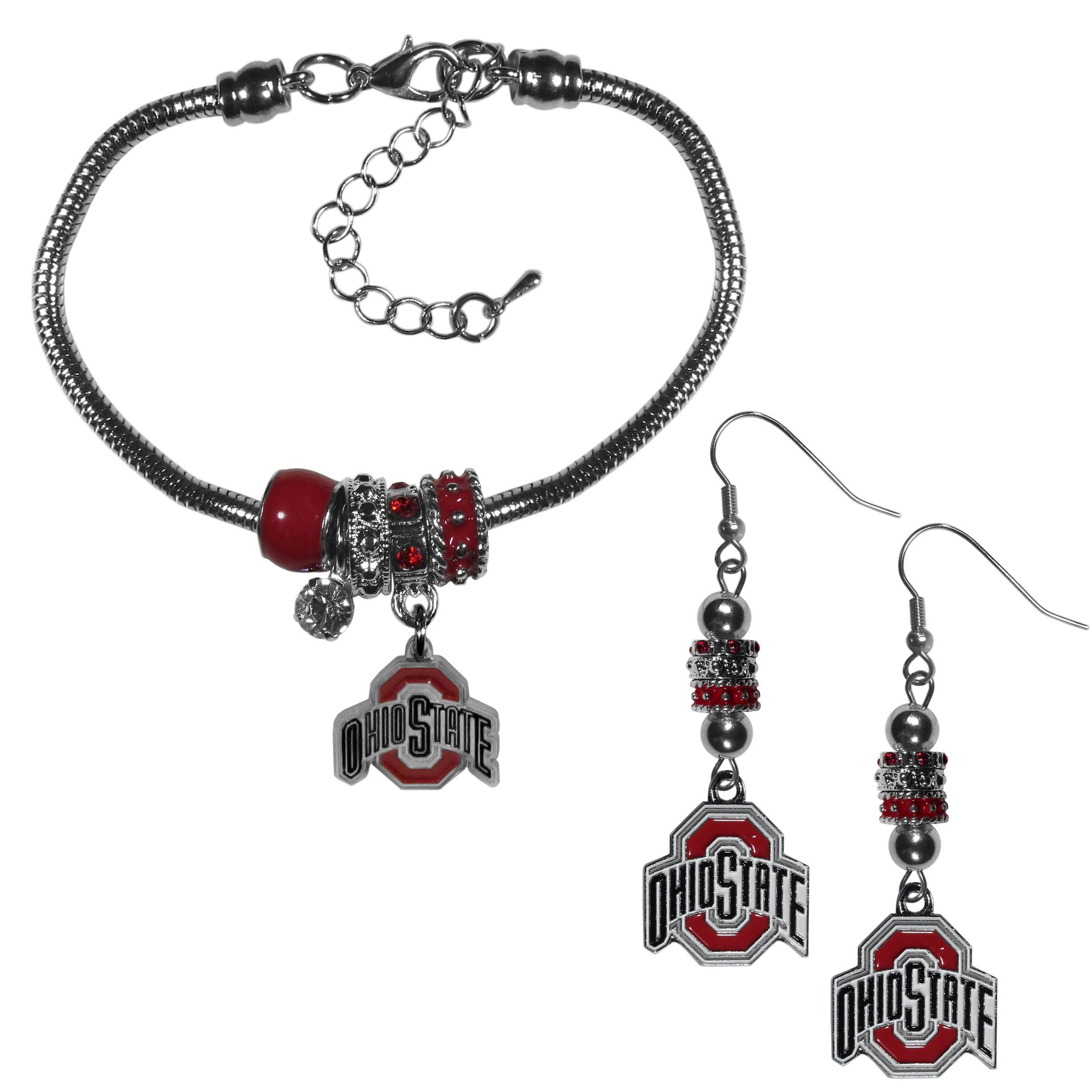 Ohio St. Buckeyes Euro Bead Earrings and Bracelet Set - We combine the popular Euro bead style with your love of the Ohio St. Buckeyes with this beautiful jewelry set that includes earrings and a matching bracelet. The stylish earrings feature hypoallergenic, nickel free fishhook posts and 3 team colored Euro beads and a metal team charm. The matching snake chain bracelet is 7.5 inches long with a 2 inch extender and 4 Euro beads with a rhinestone charm and team charm.