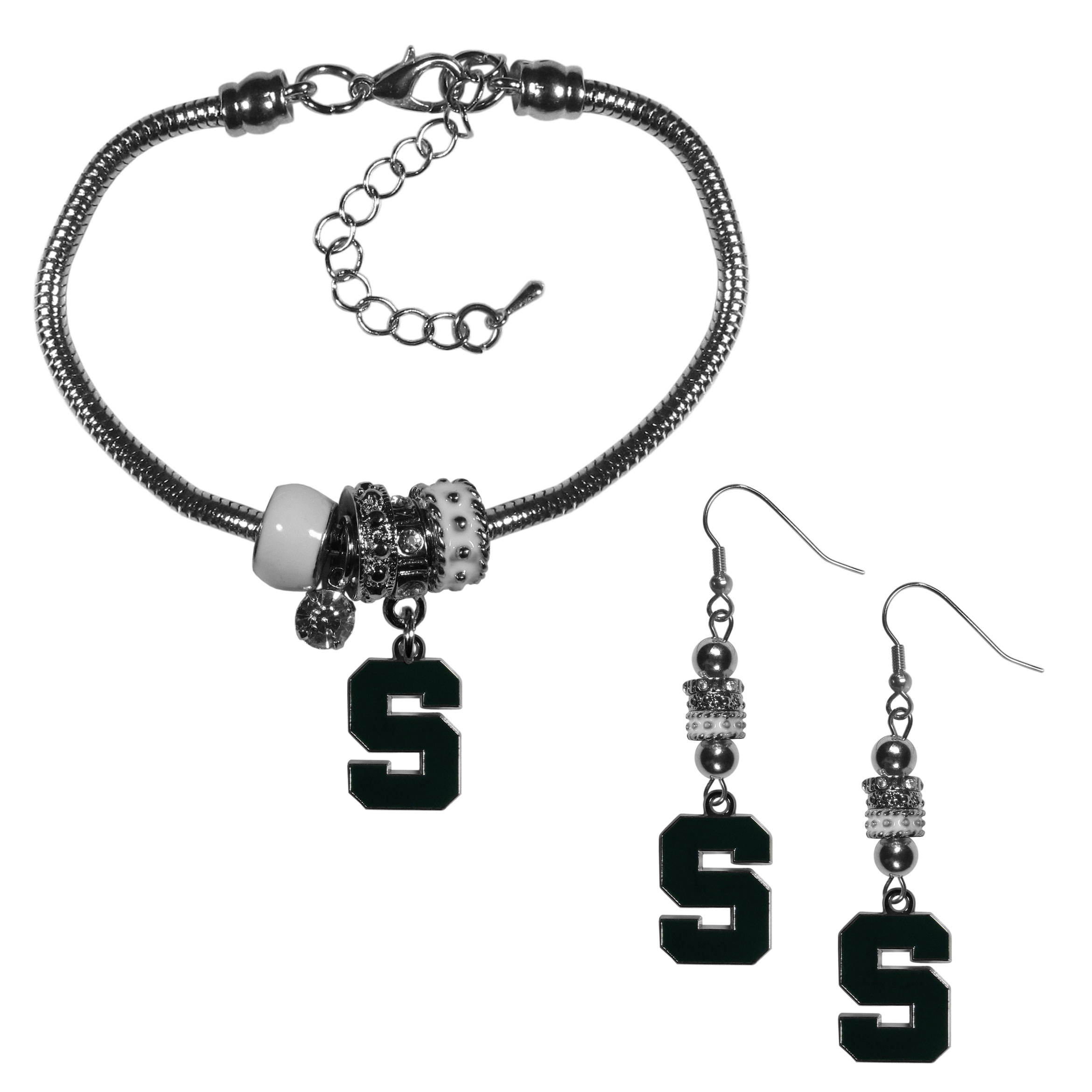 Michigan St. Spartans Euro Bead Earrings and Bracelet Set - We combine the popular Euro bead style with your love of the Michigan St. Spartans with this beautiful jewelry set that includes earrings and a matching bracelet. The stylish earrings feature hypoallergenic, nickel free fishhook posts and 3 team colored Euro beads and a metal team charm. The matching snake chain bracelet is 7.5 inches long with a 2 inch extender and 4 Euro beads with a rhinestone charm and team charm.