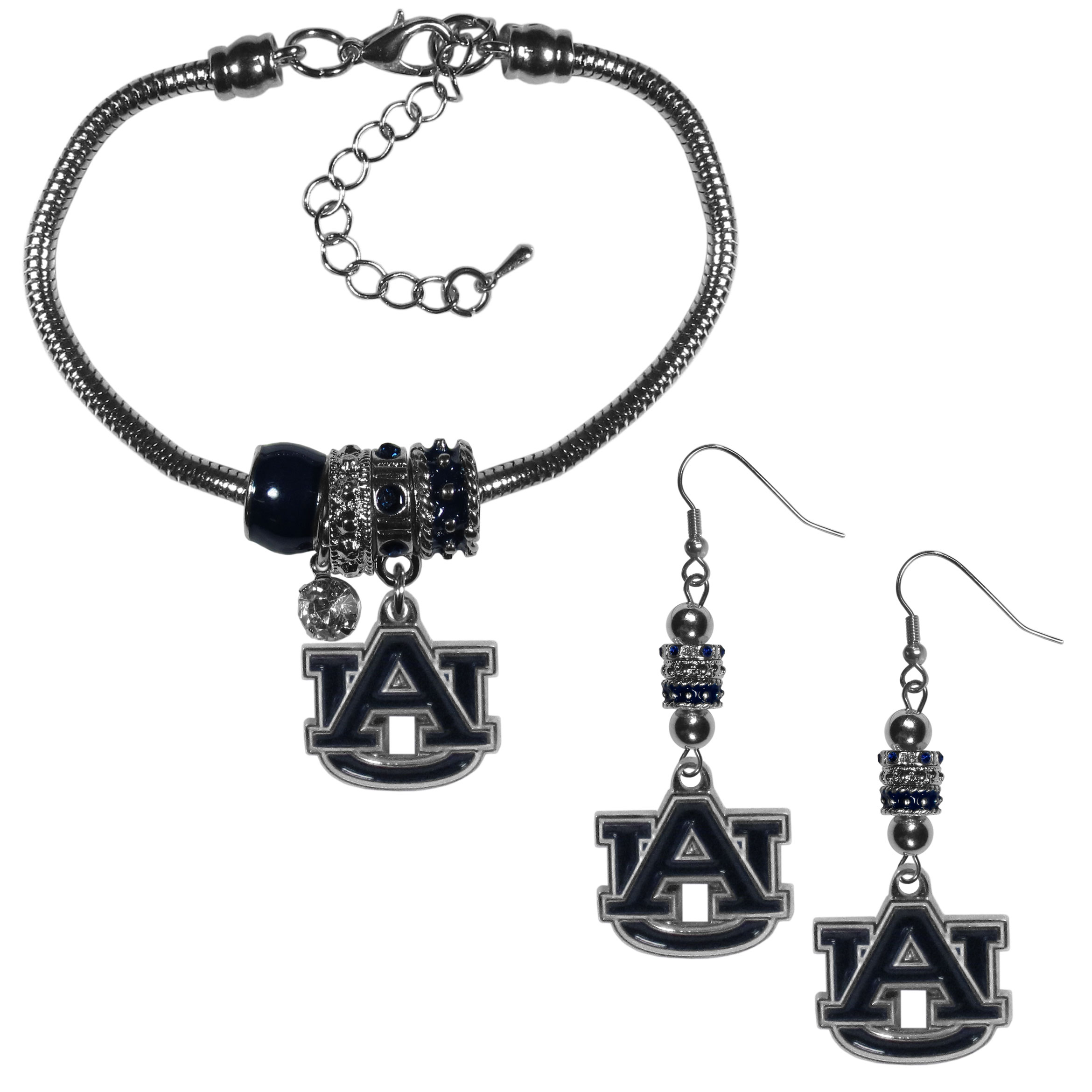 Auburn Tigers Euro Bead Earrings and Bracelet Set - We combine the popular Euro bead style with your love of the Auburn Tigers with this beautiful jewelry set that includes earrings and a matching bracelet. The stylish earrings feature hypoallergenic, nickel free fishhook posts and 3 team colored Euro beads and a metal team charm. The matching snake chain bracelet is 7.5 inches long with a 2 inch extender and 4 Euro beads with a rhinestone charm and team charm.